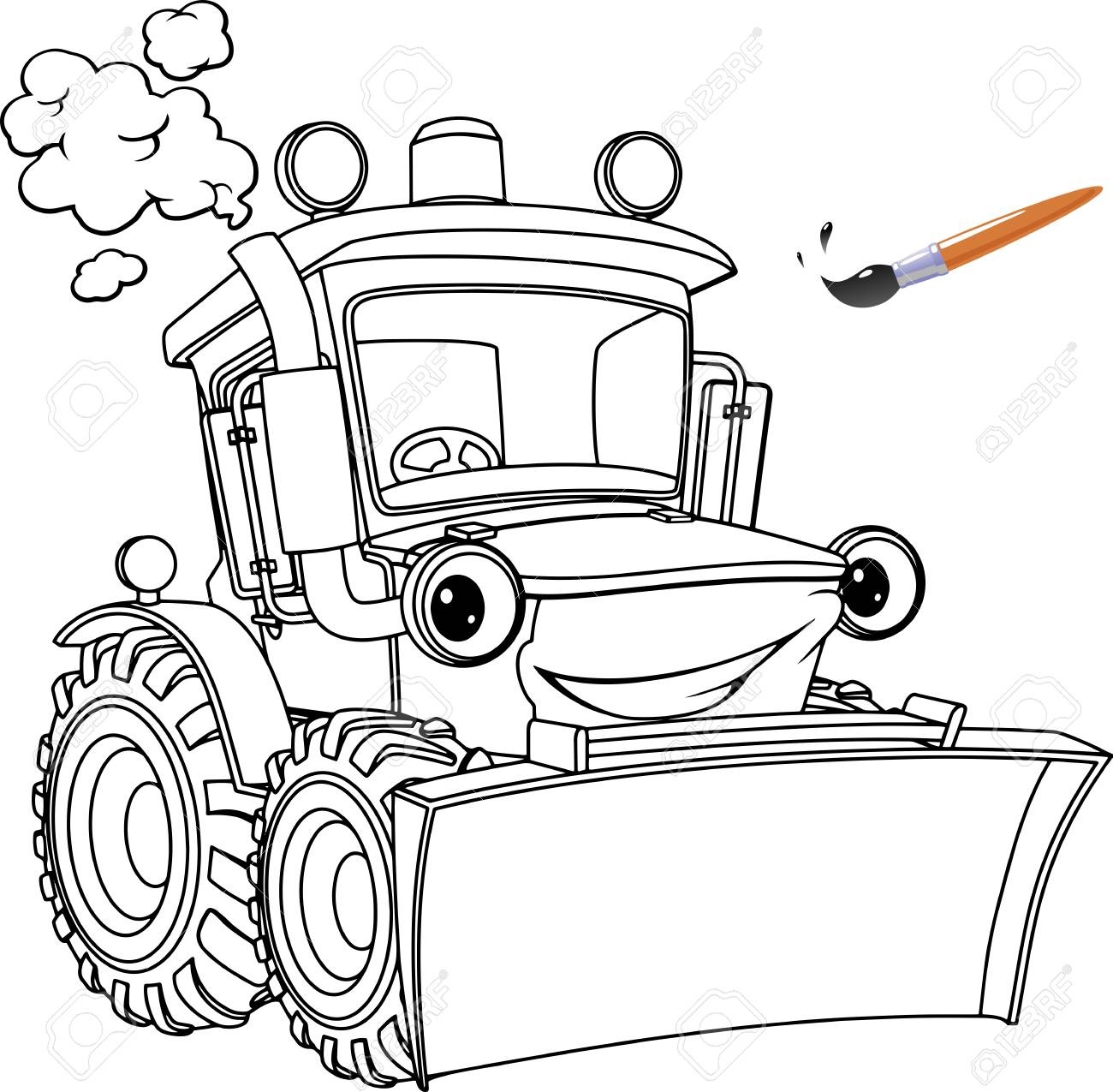 Funny Tractor Bulldozer Coloring Pages Coloring Book Design For