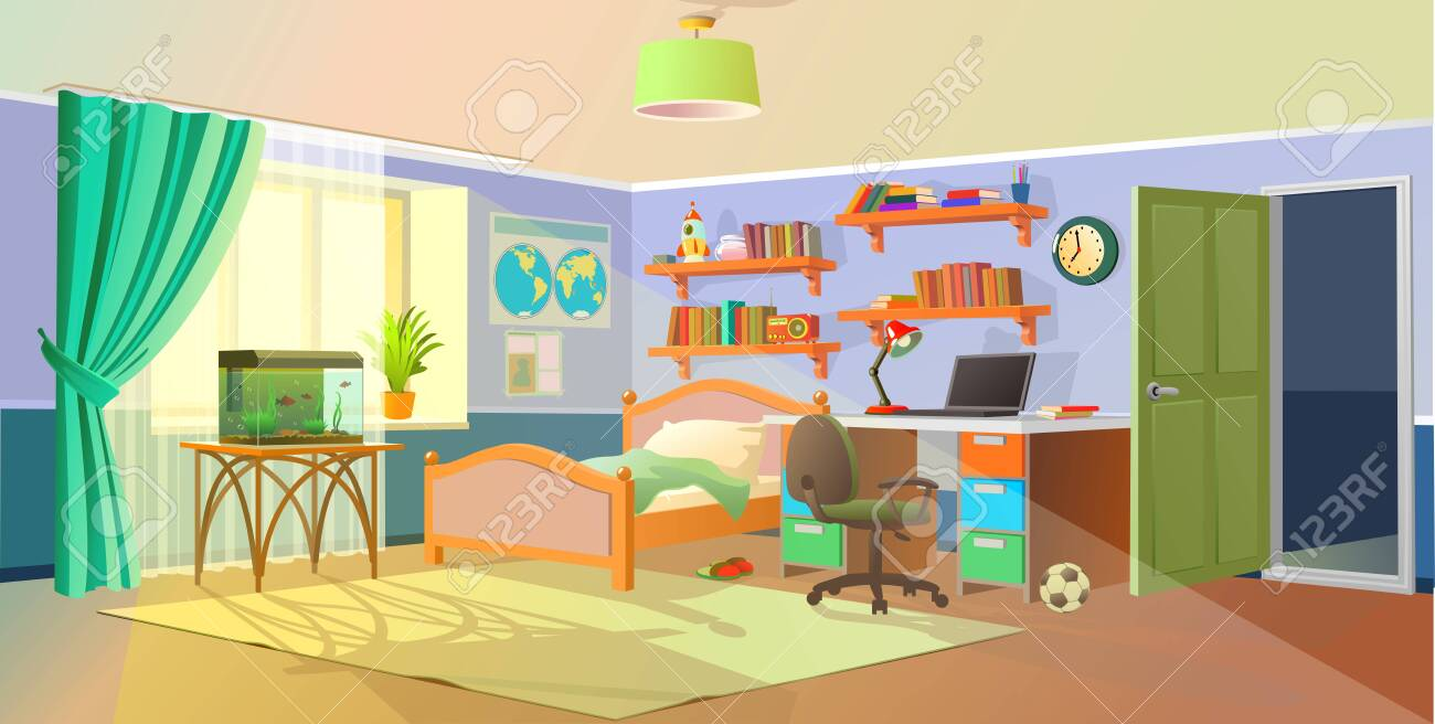 Interior. Boys room with table, computer, bookshelf. Flat cartoon vector illustration.Cozy interior of children's room, furniture, window, aquarium. Teenager room with workplace. - 146101578