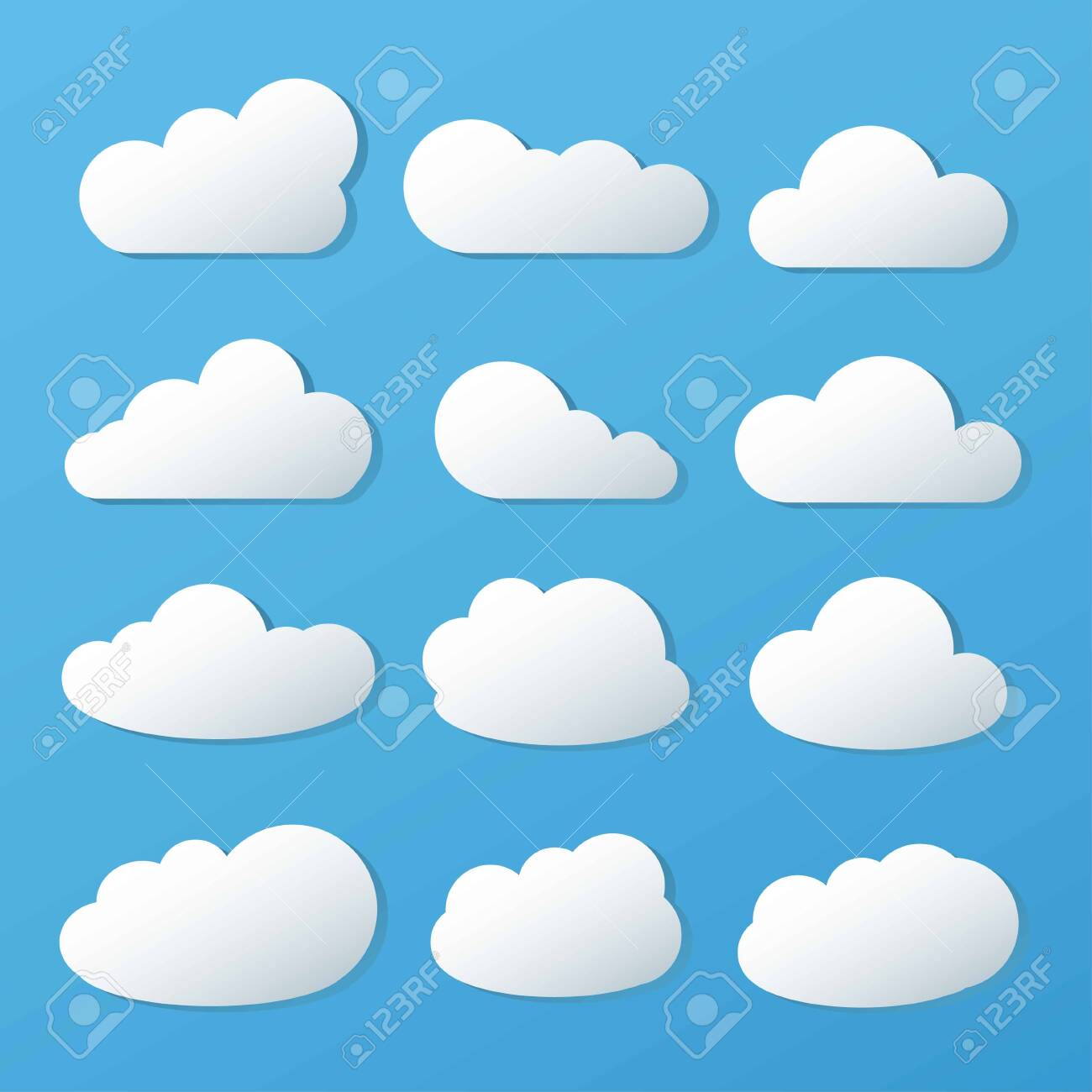 Clouds icon, vector illustration on blue background. - 145366479