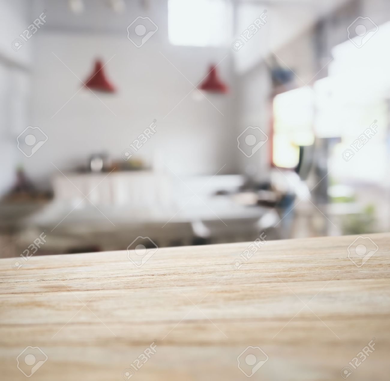 Kitchen Table Top Background table top counter bar with blurred kitchen background stock photo