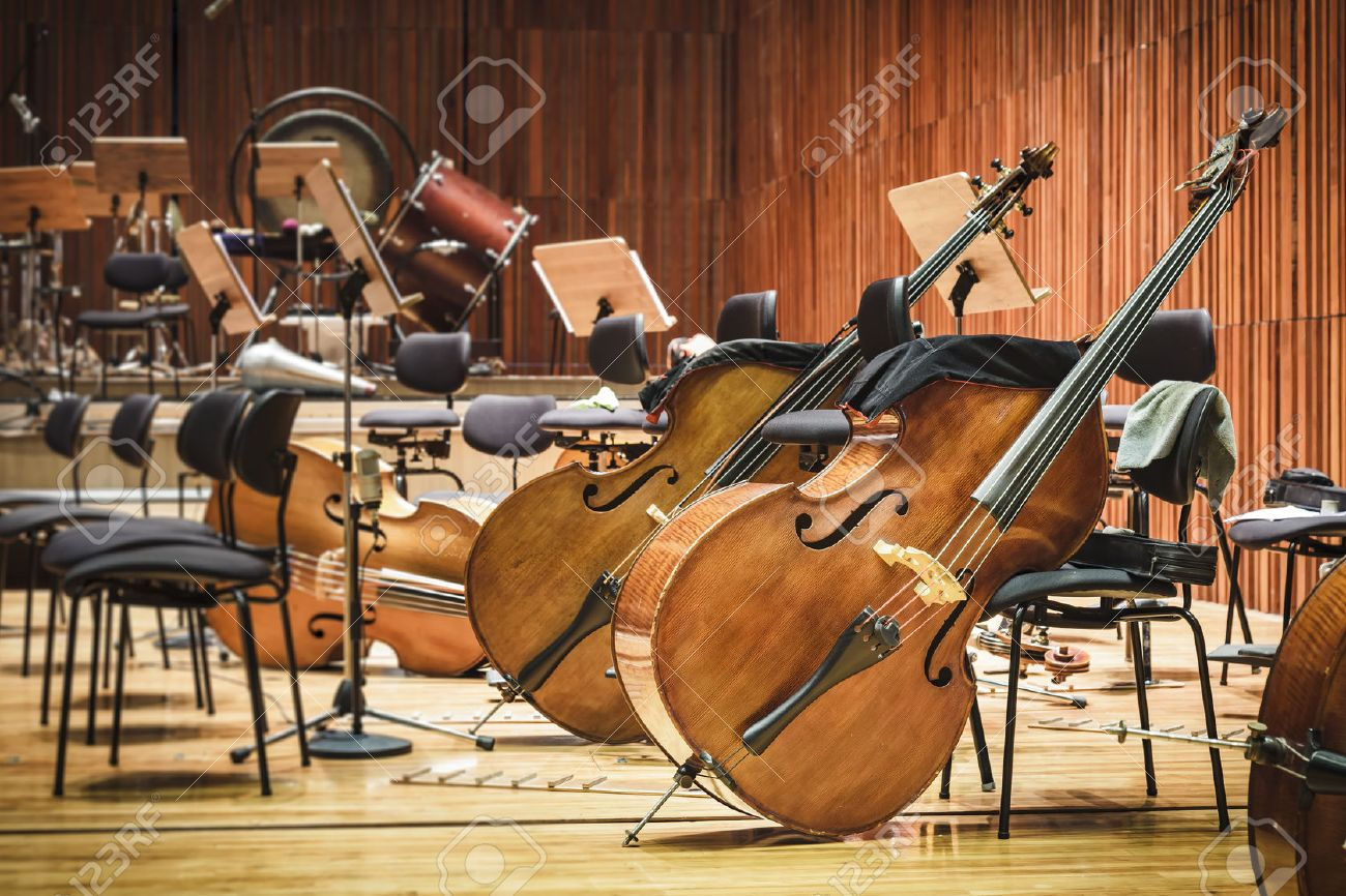 Cello Music instruments on a stage - 50237856