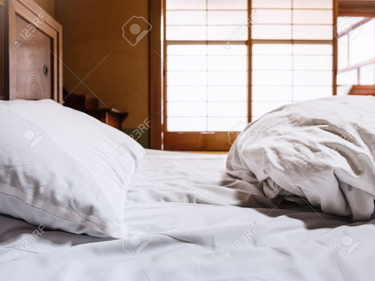 bed sheets mattress with pillow futon japanese style room background stock photo   50986747 bed sheets mattress with pillow futon japanese style room      rh   123rf