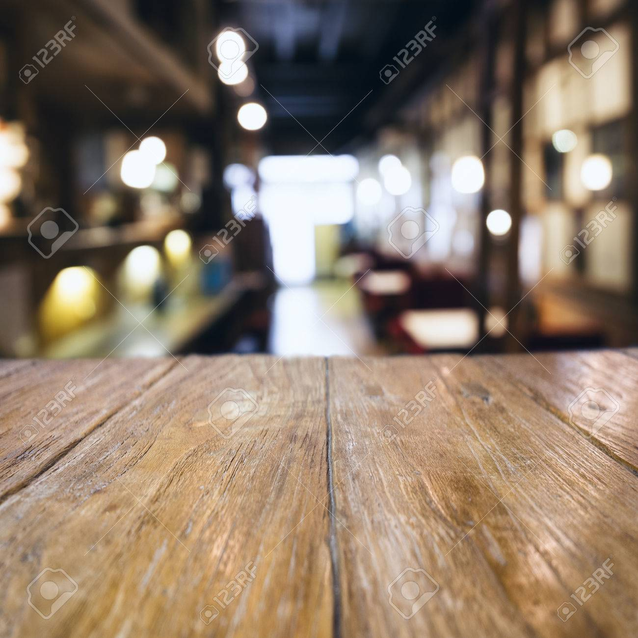 restaurant table top lighting. Stock Photo - Table Top Counter Bar Blurred Cafe Restaurant Background Lighting B