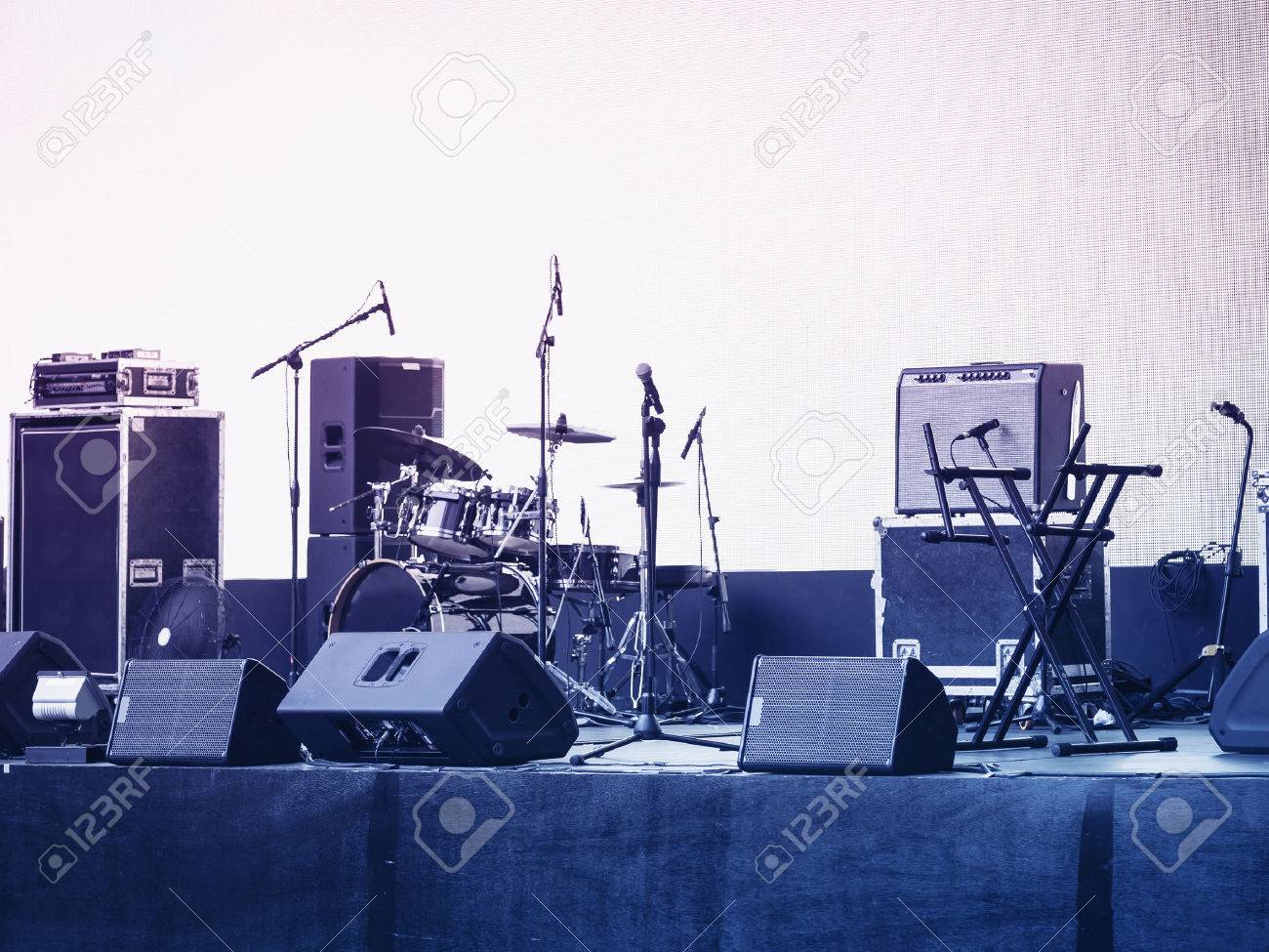 Empty outdoor rock stage - Outdoor Concert Stage Concert Stage Music And Sound Equipment Event Background Stock Photo