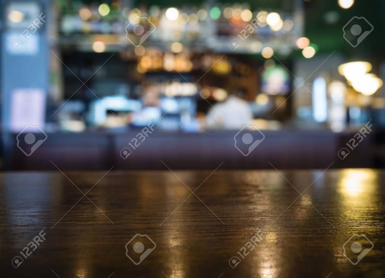 Table top Counter with Blurred Bar Restaurant Background - 58149336
