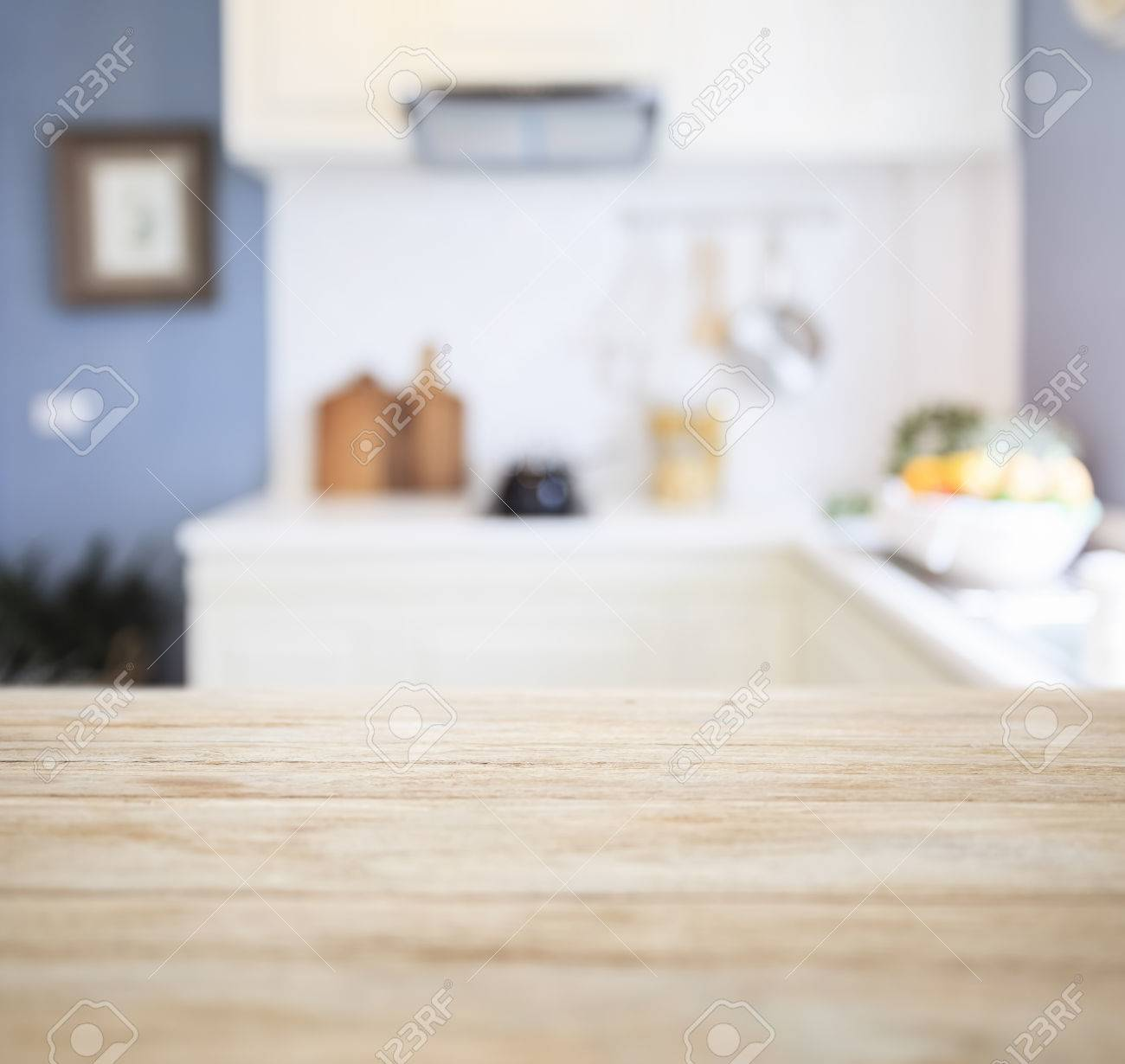 Kitchen Table Top Background table top counter with blurred kitchen pantry home interior