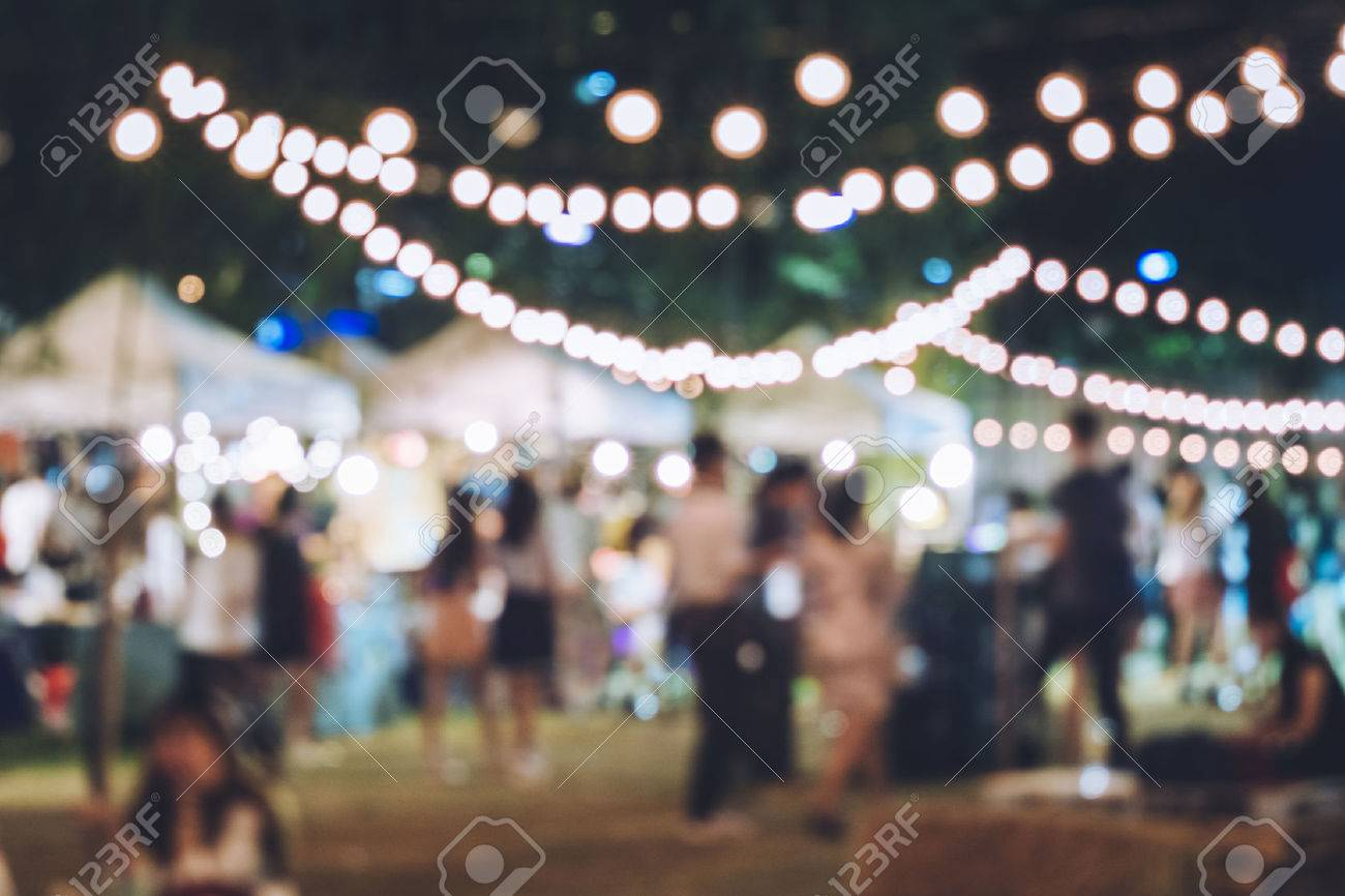 Festival Event Party with Hipster People Blurred Background - 64839527