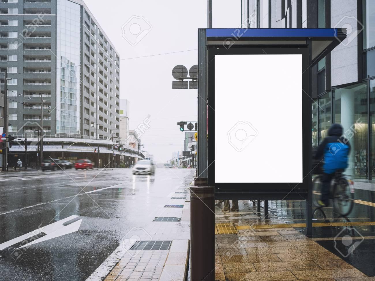 mock up banner template at bus shelter media outdoor street sign
