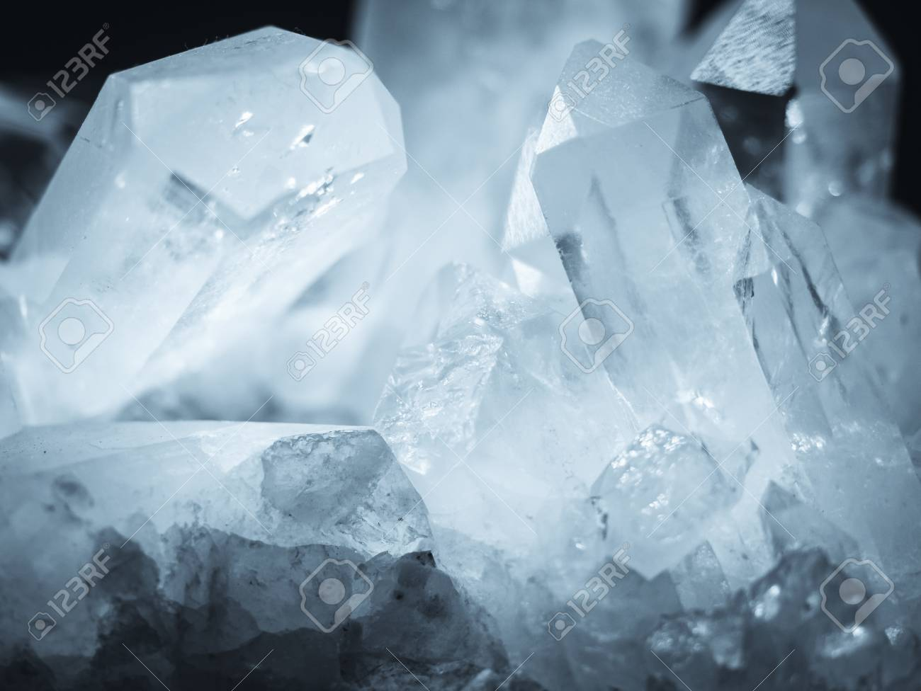 Mineral Crystal Quartz rock white texture Nature abstract background - 115333689