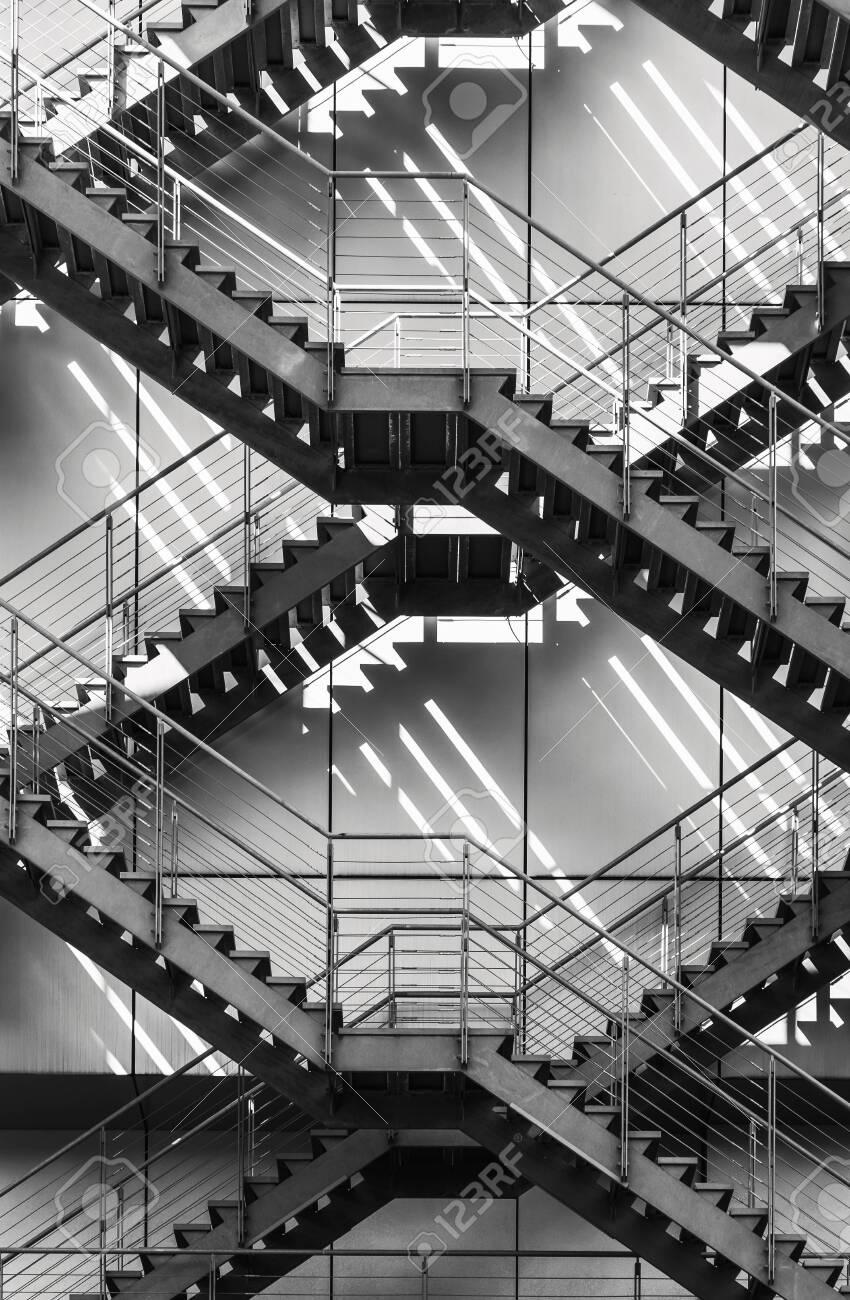 Fire escape stairs ladder Modern Building Exterior Architecture details - 131186325