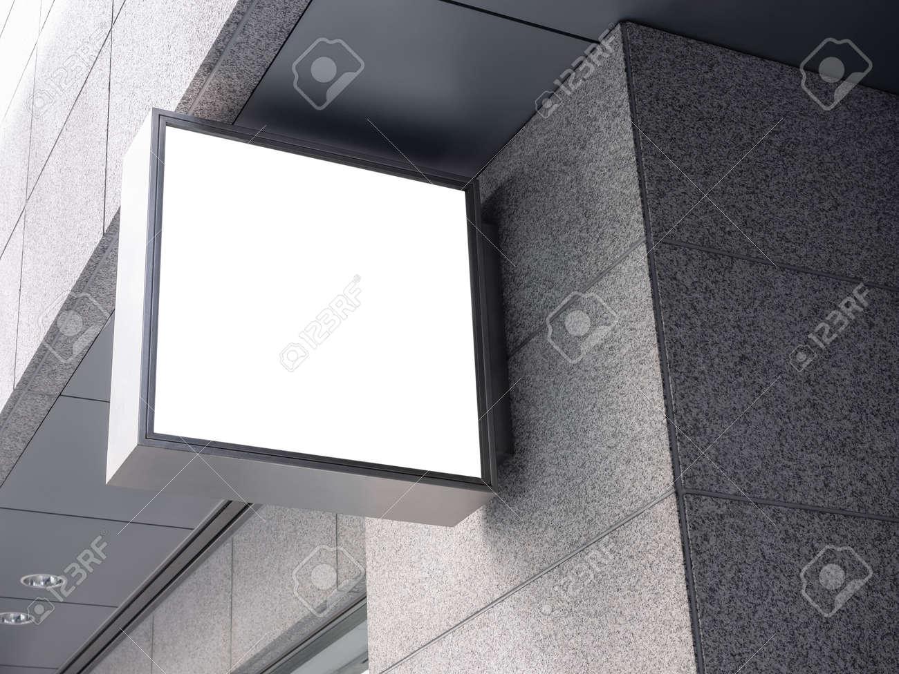 Mock up shop logo sign Blank signage exterior Building - 139589310