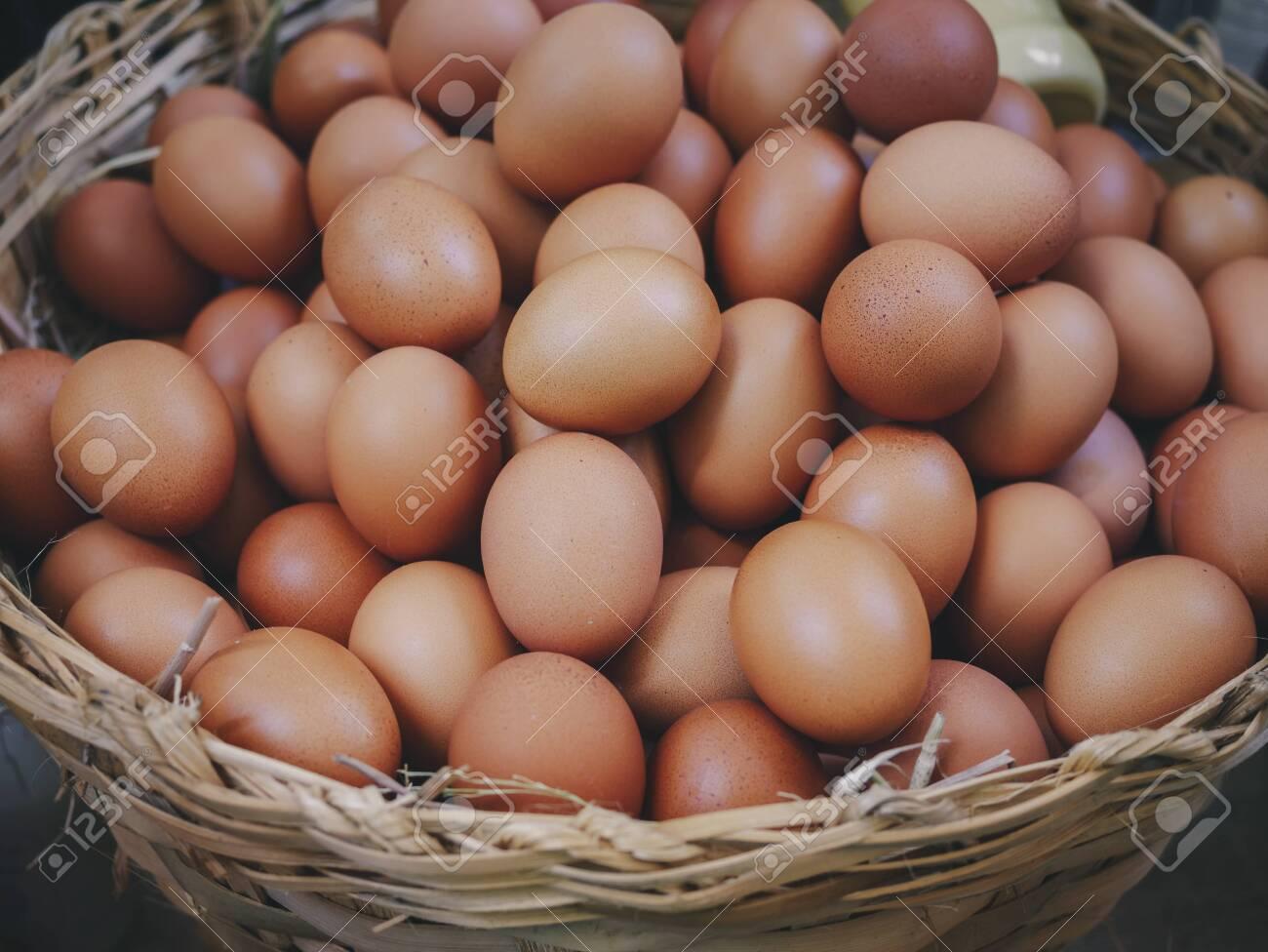 Eggs in basket fresh eggs farm product Organic eggs - 144025573