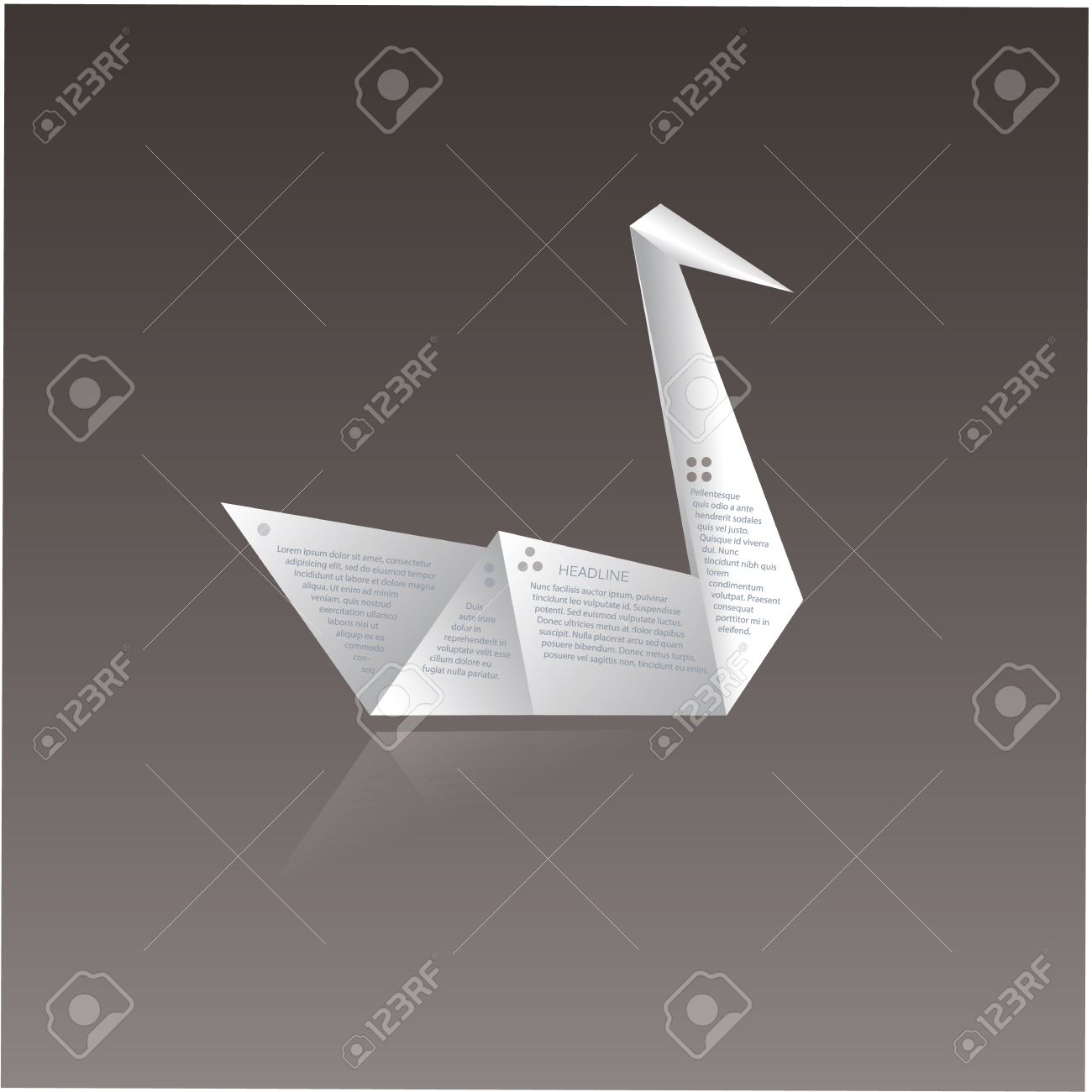 Vector Paper Origami Swan With Space For Text About