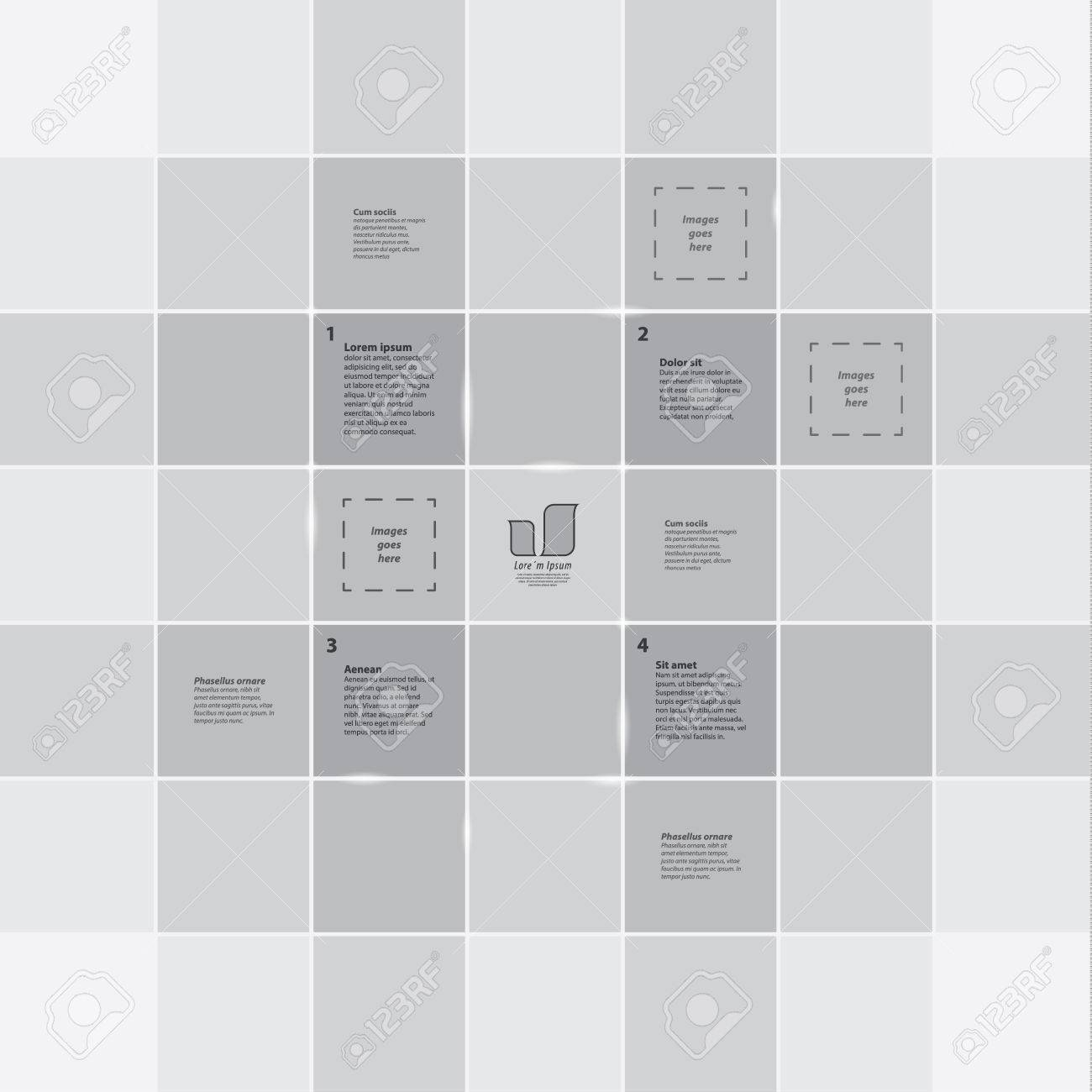 square grid template colorfully template with four primary steps