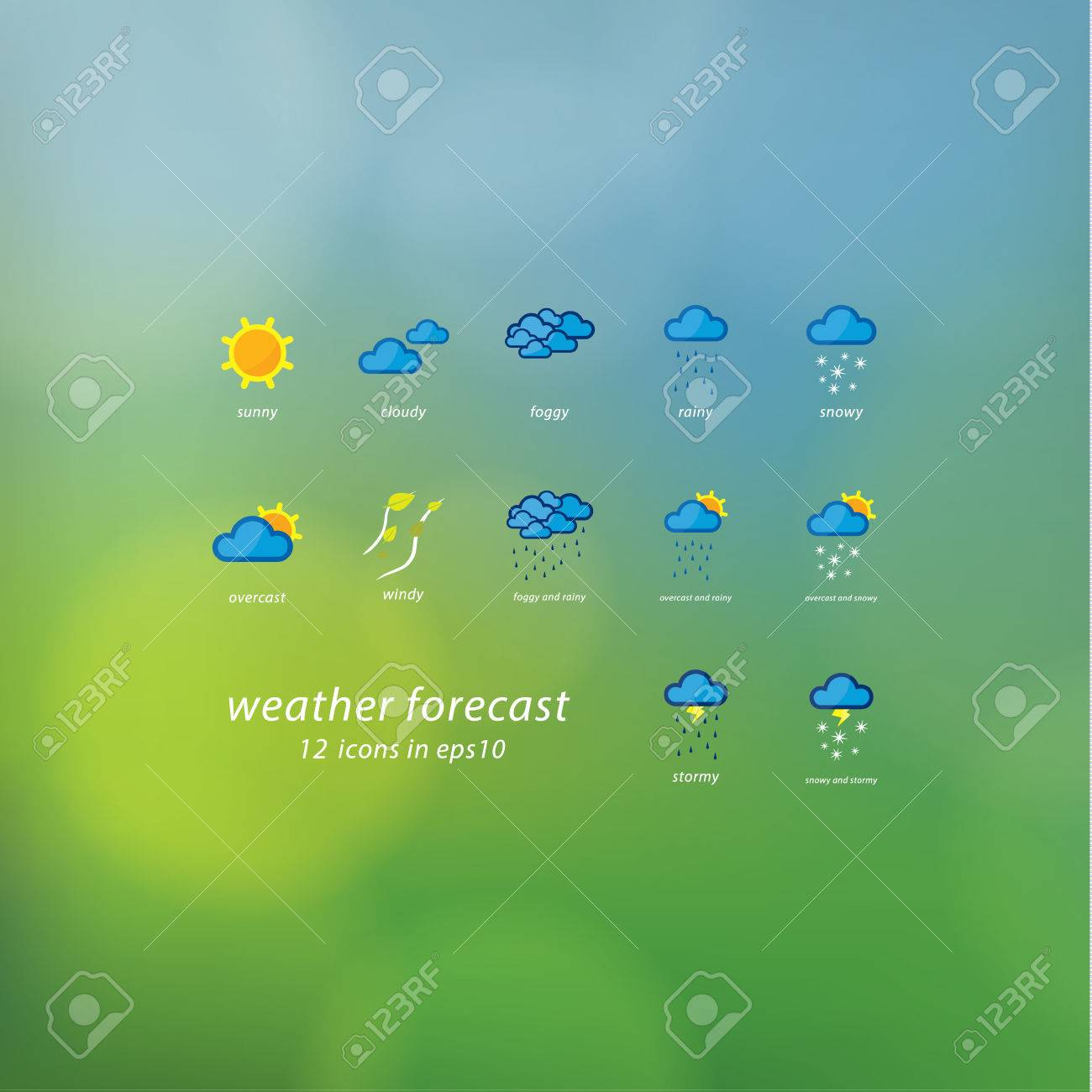 Weather forecast icons. Vector icons - stylized weather events. Thematic symbols on natural vector blurred background. Sizable, editable icons. Stock Vector - 25512805