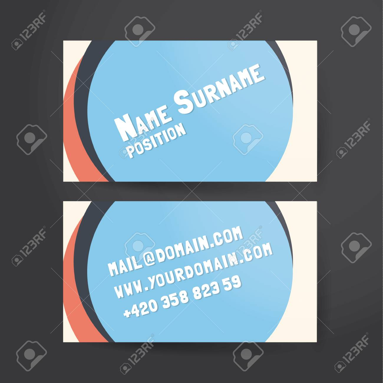 Template For Unusual Funky Business Card. Royalty Free Cliparts ...