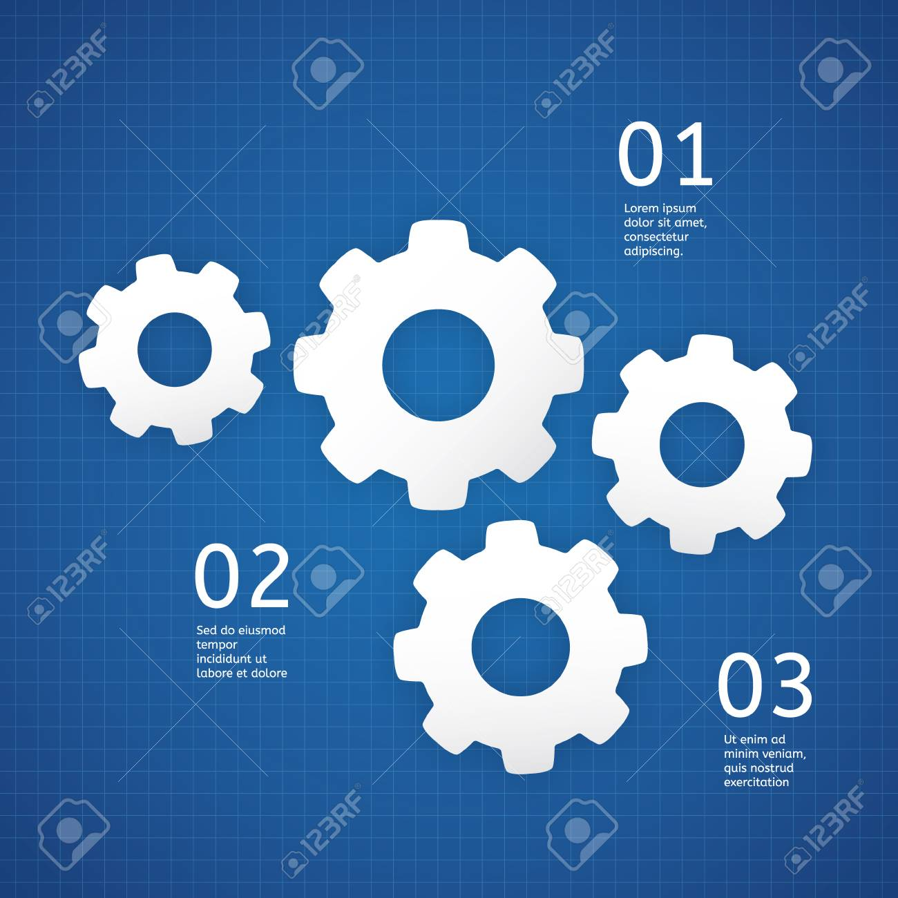 Vector technical template white cogwheels on blueprint background vector vector technical template white cogwheels on blueprint background template with place for your text malvernweather Gallery