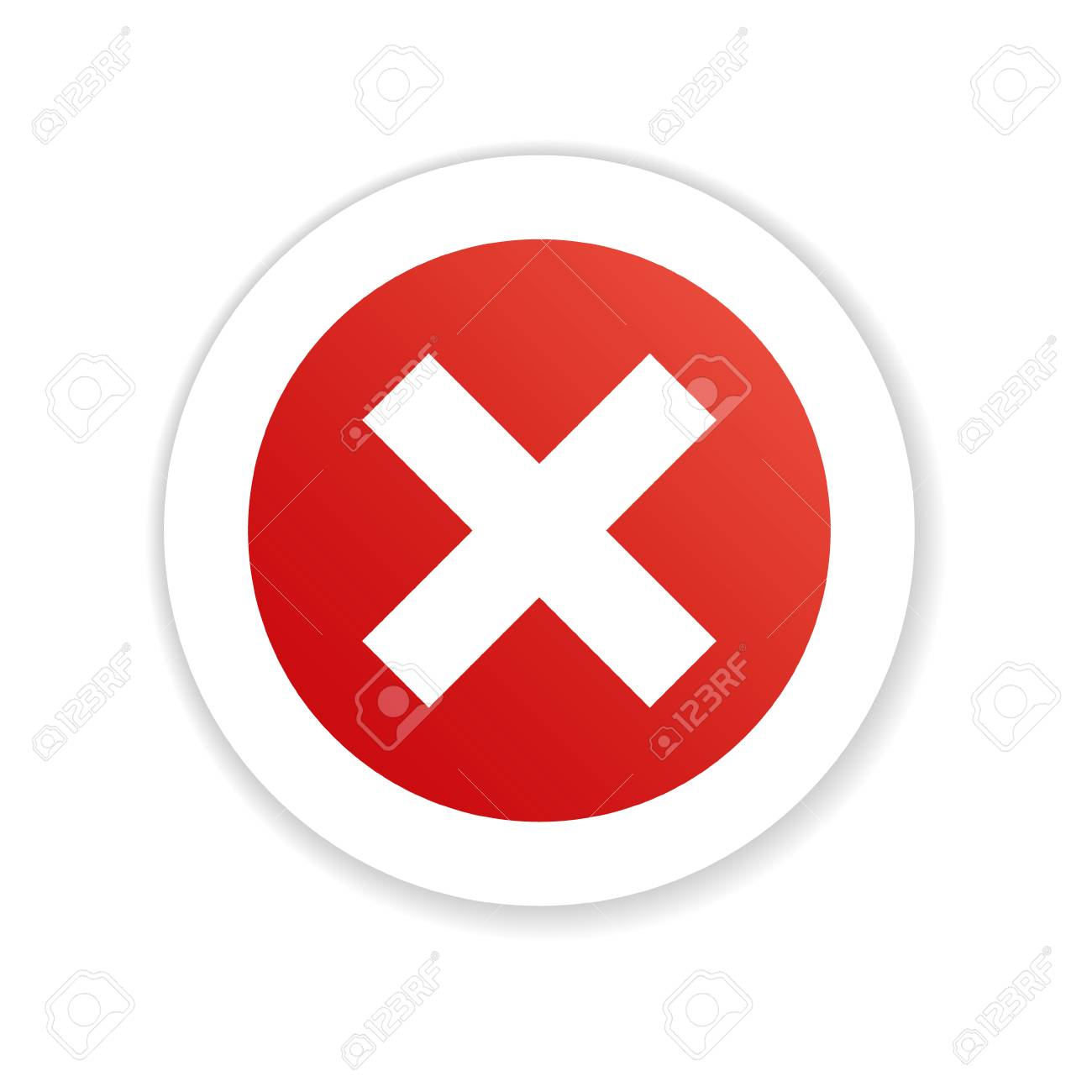 Cross Symbol Negative Red Flat Shadow Button