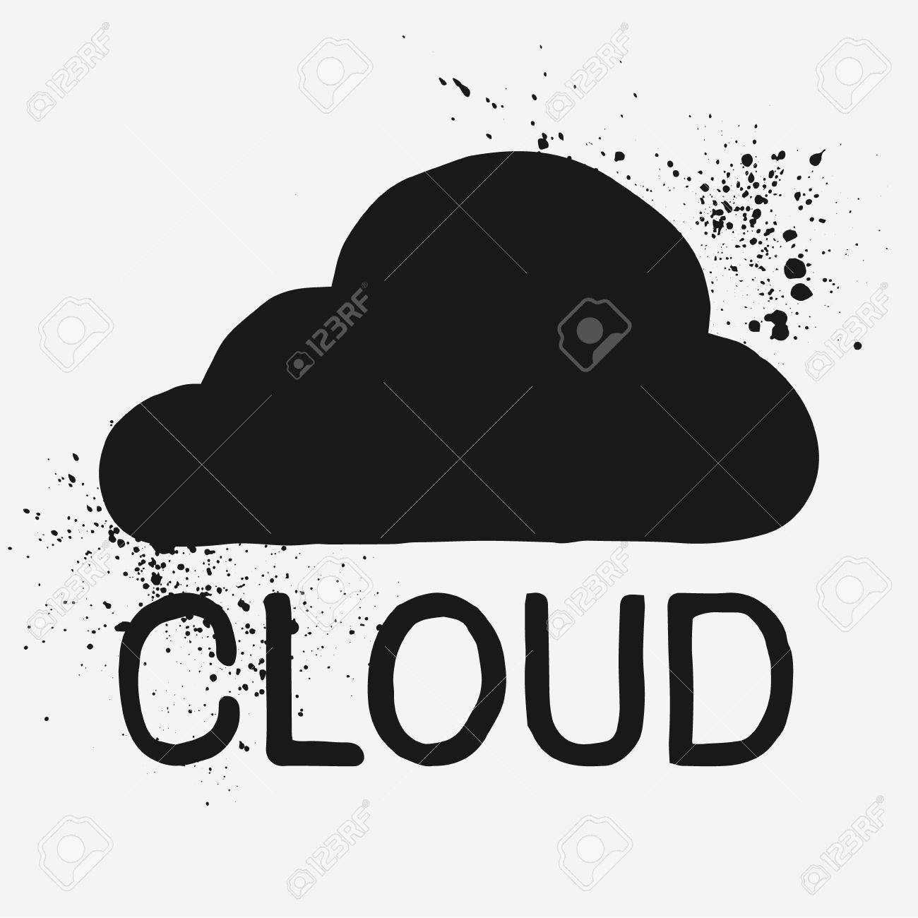 Handmade cloud symbol drawn by brush and ink unusual icon for handmade cloud symbol drawn by brush and ink unusual icon for cloud storage or biocorpaavc Gallery
