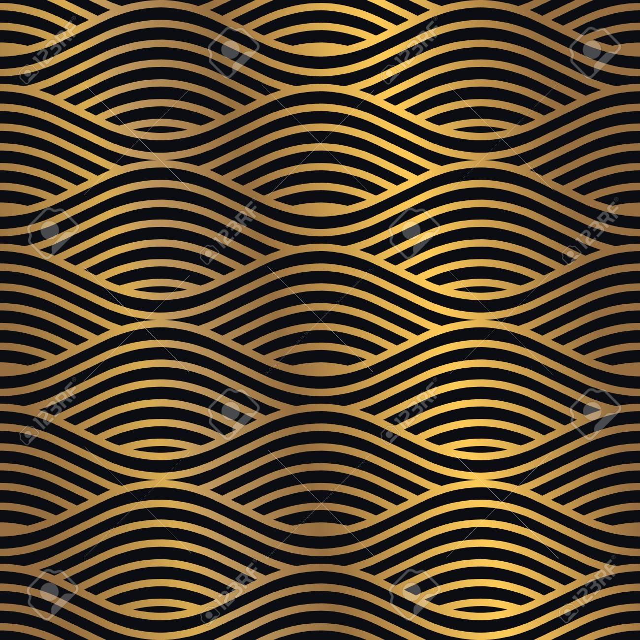 Golden seamless pattern on a dark background. Minimal design pattern combined with flashy golden gradient. Vector graphic design element. - 103816593