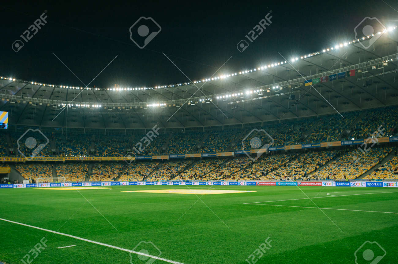 Kyiv, Ukraine - October 14, 2019: A view of the corner flag at the Stadium before the match of qualify round Euro - 150651977