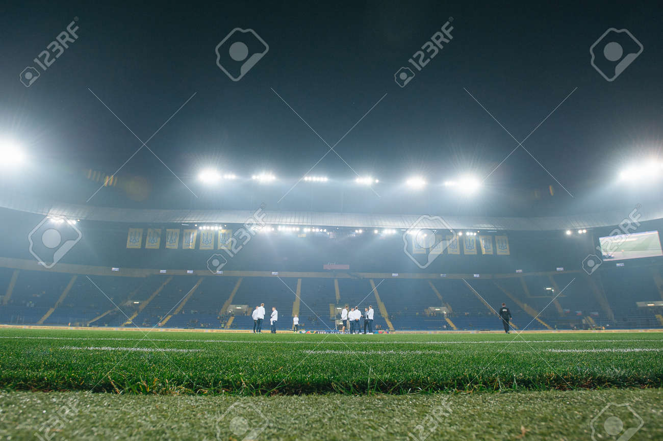 Kharkiv, Ukraine - October 18, 2018: Stadium lights at stadium before soccer match Ukraine - Czech Republic on Metalist stadium. - 155521514
