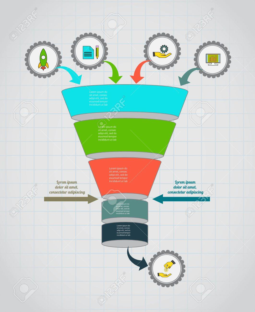 funnel flow chart. infographic template . design for presentation, Presentation templates