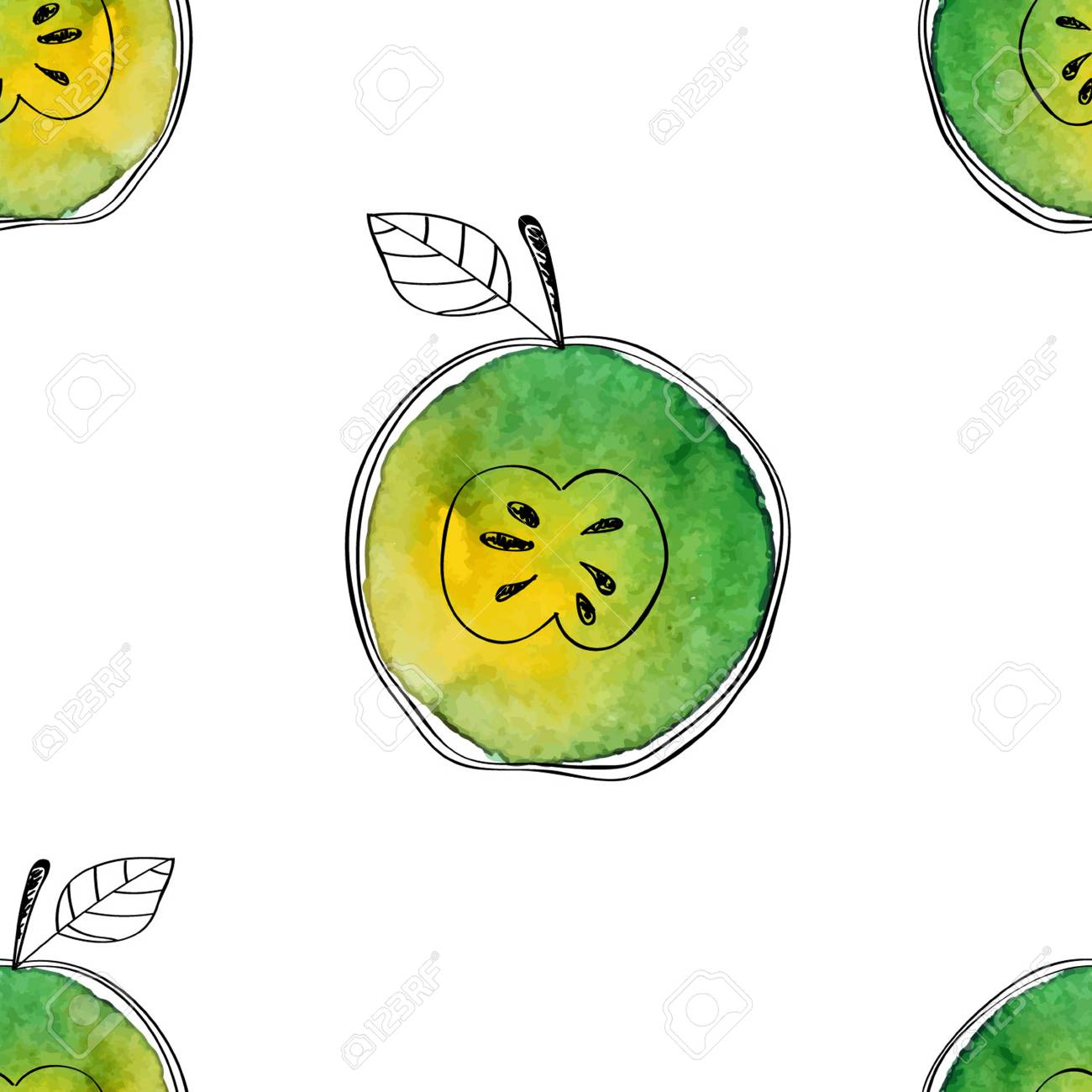 Vector Seamless pattern of watercolor green apple with black hand-drawn elements. On white background. Grouped and isolated. Modern design. Creative style. Handmade. - 69214041