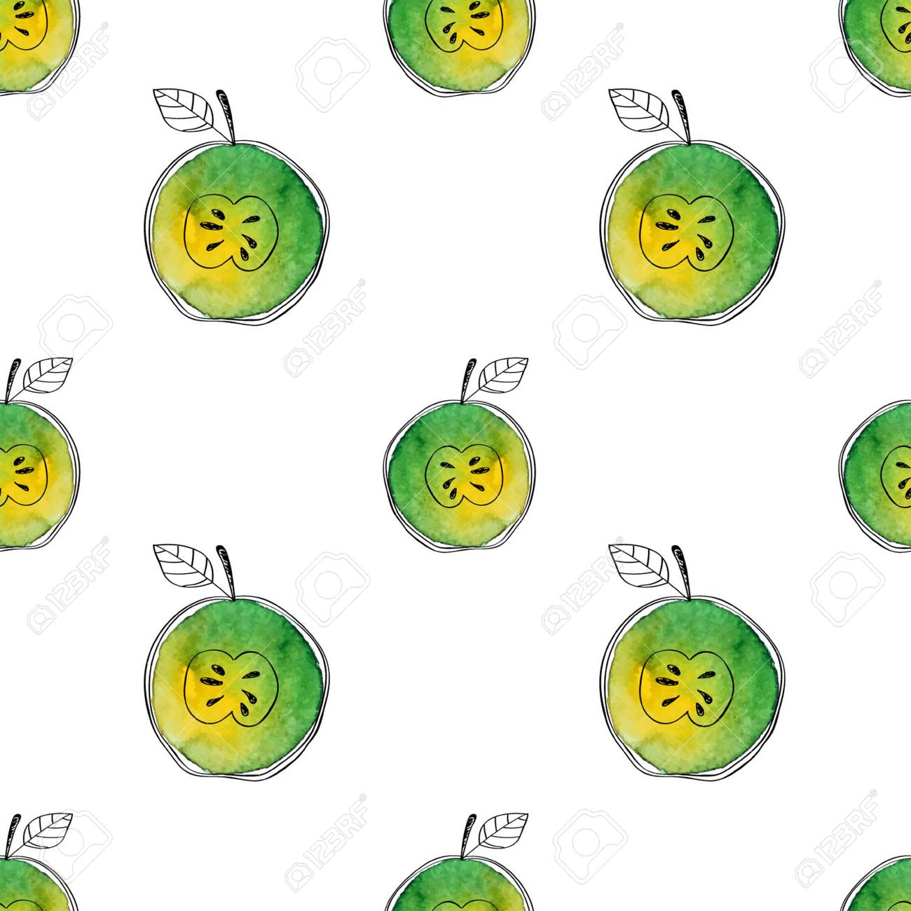 Vector Seamless pattern of watercolor green apple with black hand-drawn elements. On white background. Grouped and isolated. Modern design. Creative style. Handmade. - 69214044