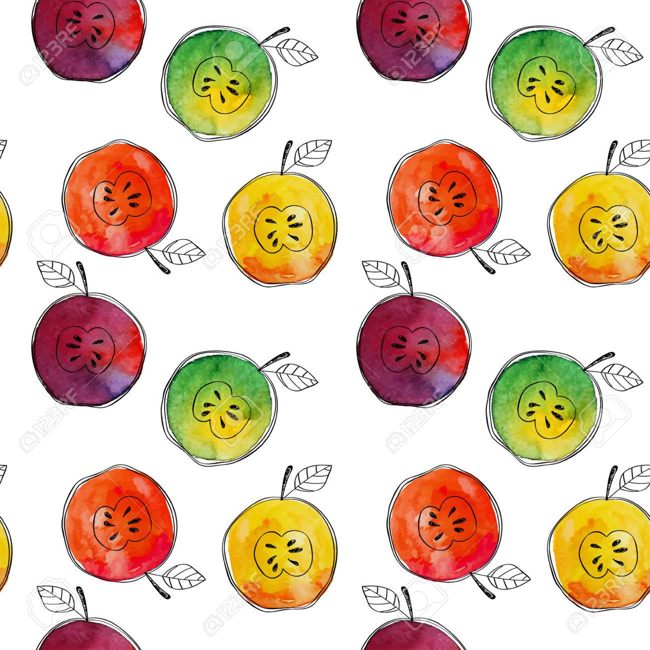Vector Seamless pattern of watercolor yellow, green, red, orange apple with black hand-drawn elements. On white background. Grouped and isolated. Modern design. Creative style. Handmade. - 69214048