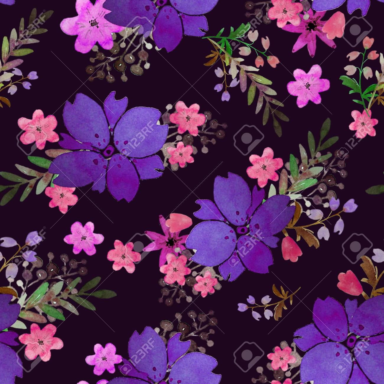 Romántico Floral De Patrones Sin Fisuras Con Flores Y Hojas Imprimir Para Fondo De Pantalla Textil Sin Fin Elementos De Acuarela Dibujados A Mano