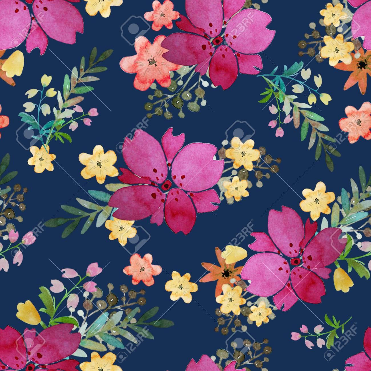 Romántico Floral De Patrones Sin Fisuras Con Flores Rosas Y Hojas