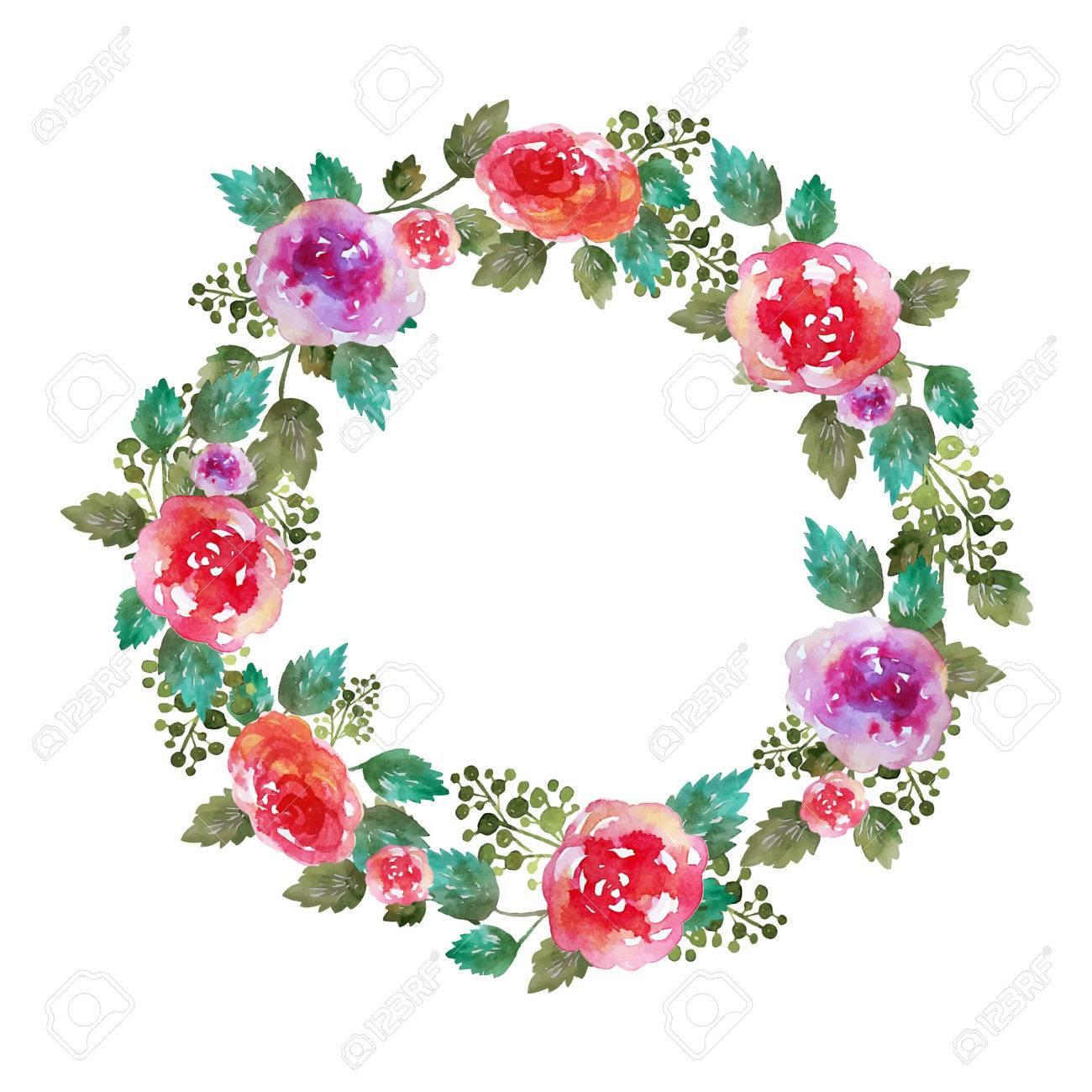 Vector Vintage Blumenkranz Hochzeit Rahmen Mit Rosen Blumen Und