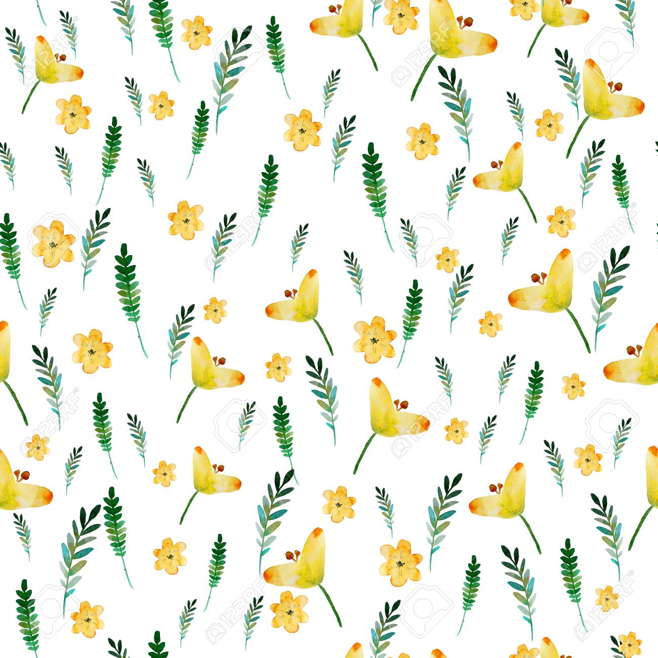 Seamless Floral Pattern With Watercolor Yellow Flowers And Leaves