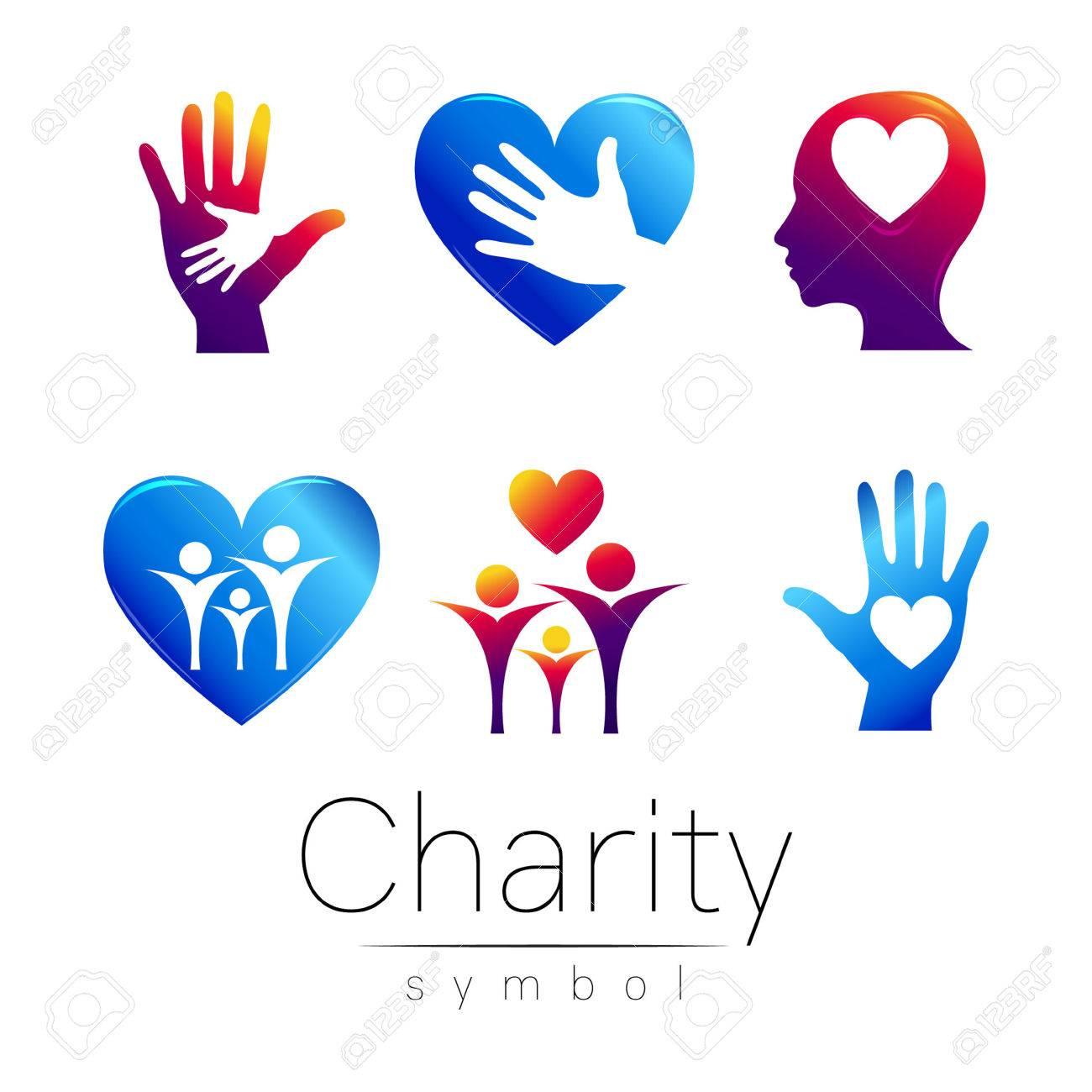 Vector Set Illustration Symbol Of Charitygn People Heart
