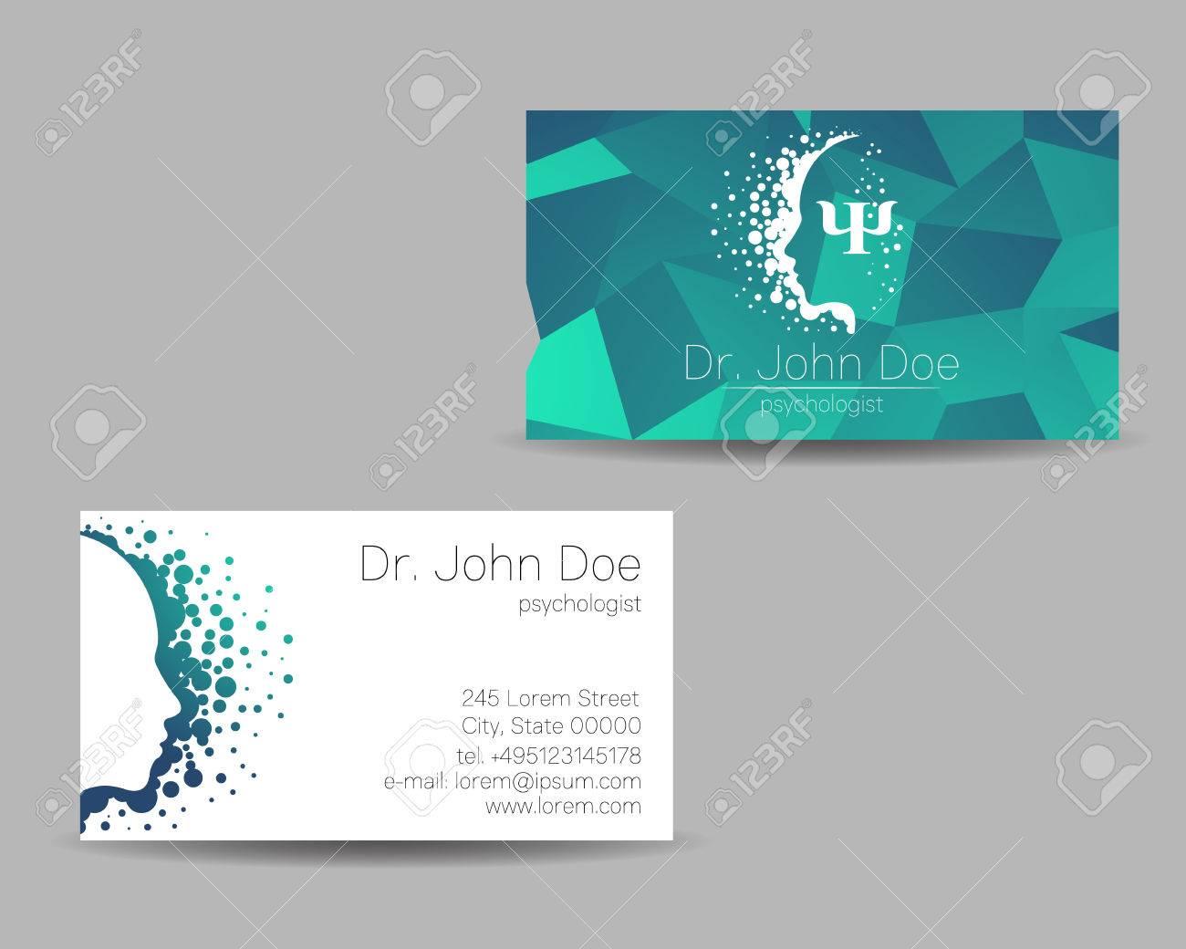 Carte De Visite Vecteur Psychologie Signe Moderne Style Creatif Concept Design Societe Marque Couleur Bleue Greeb Isolee Sur Fond Gris