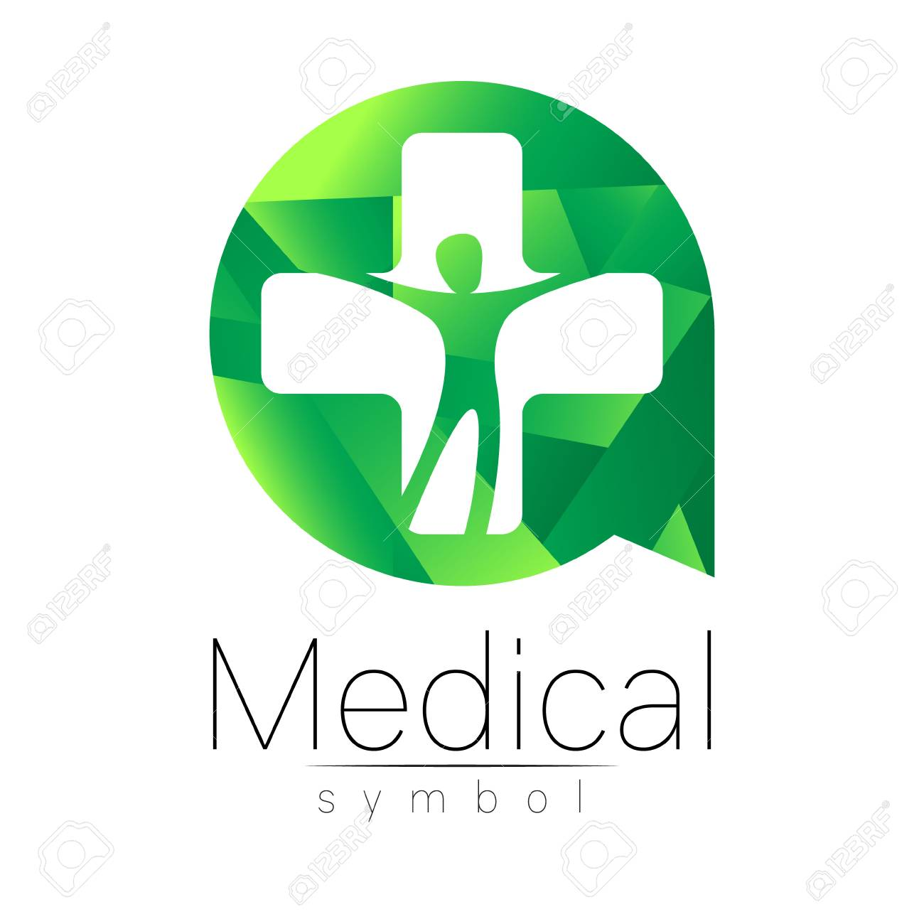 Vector Medical Sign With Cross Human Inside Circle Symbol For Doctors Website