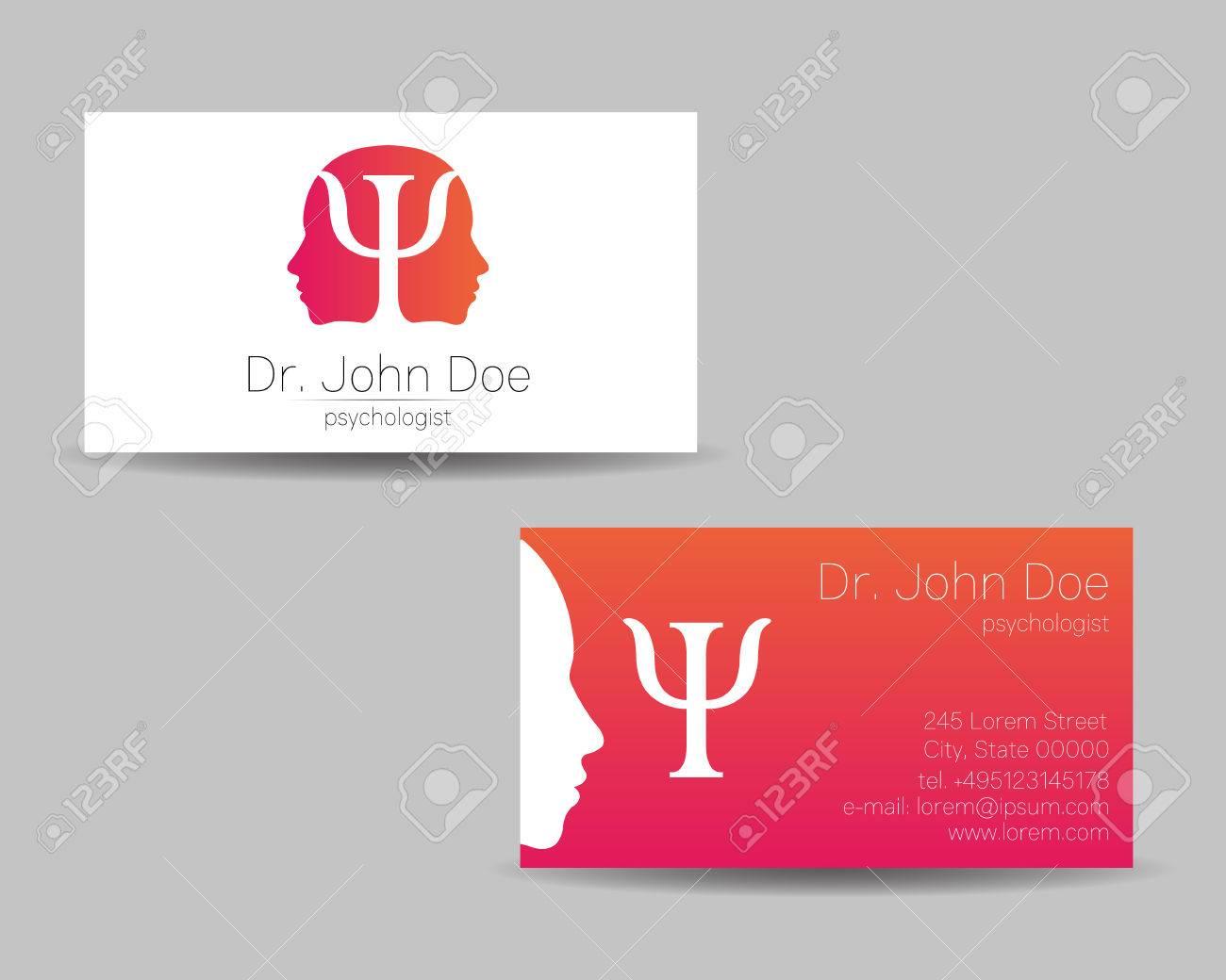 Psychology Vector Visit Card Modern Logo Creative Style Design Concept Brand Company