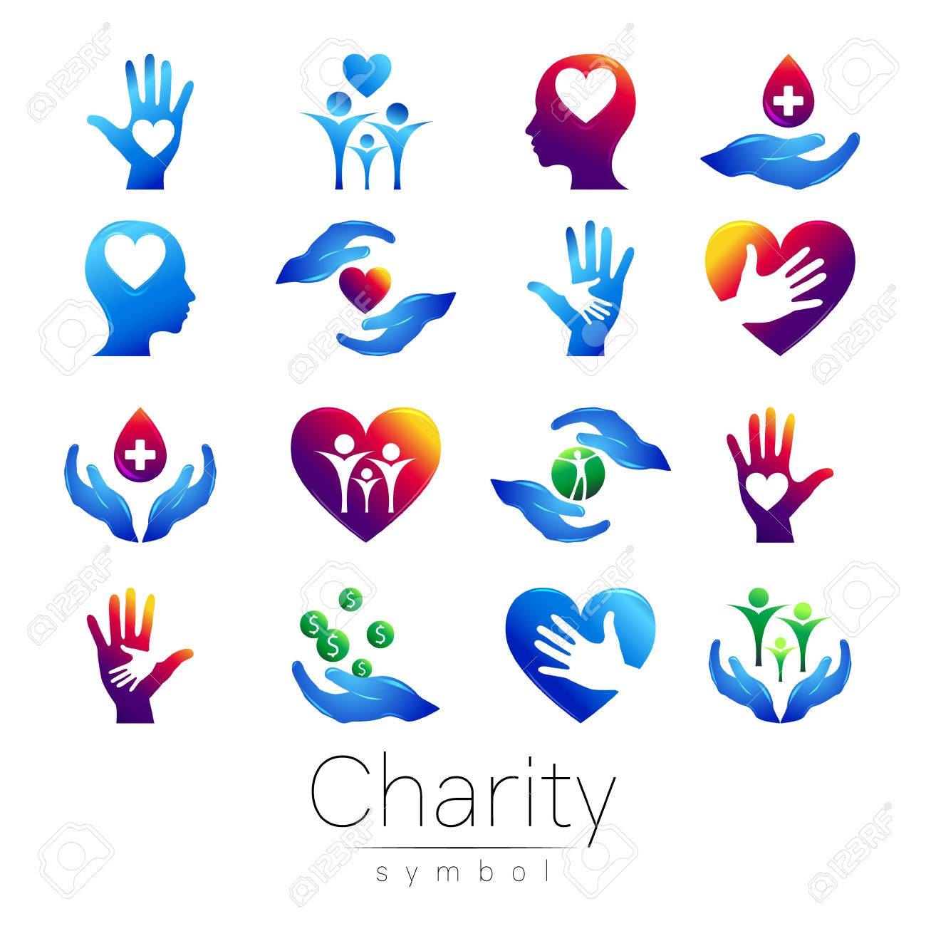 Vector Illustration Set Symbol Of Charity Sign Hand Isolated On