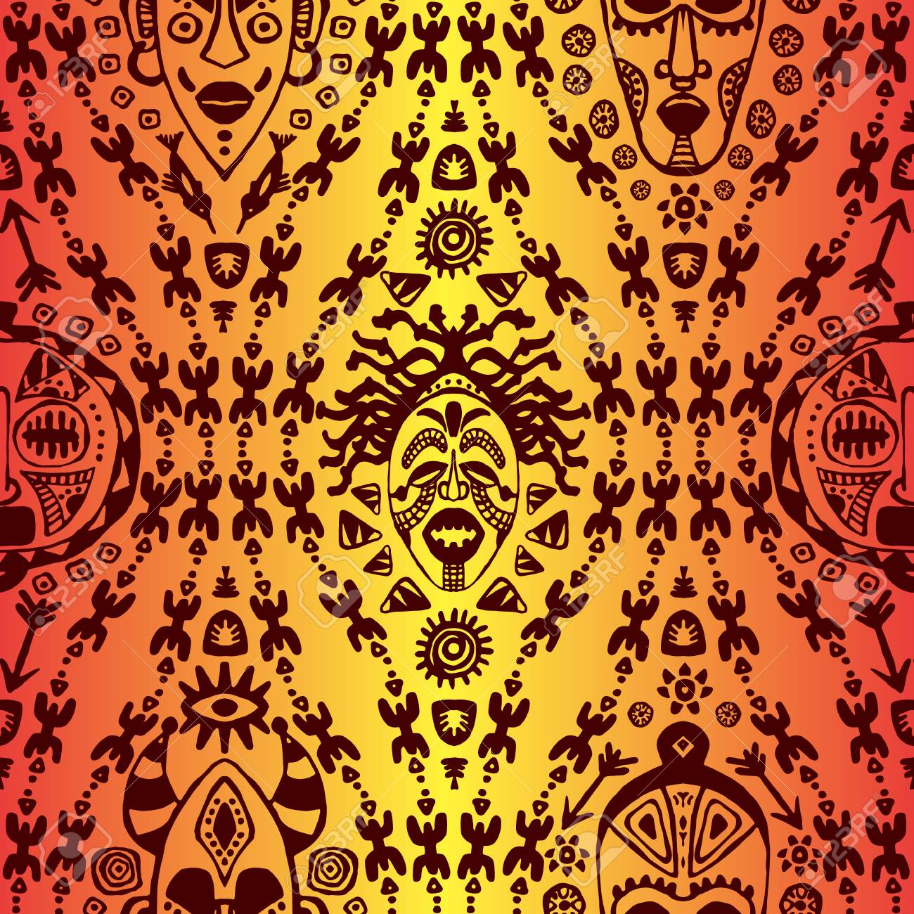 Hand Drawn Seamless Pattern With Tribal Mask Ethnic. Sketch For ...