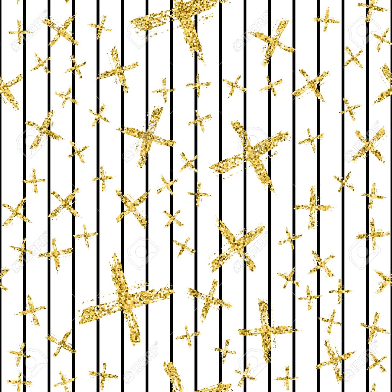 Modern Seamless Pattern With Brush Stripes And Crossblack Gold