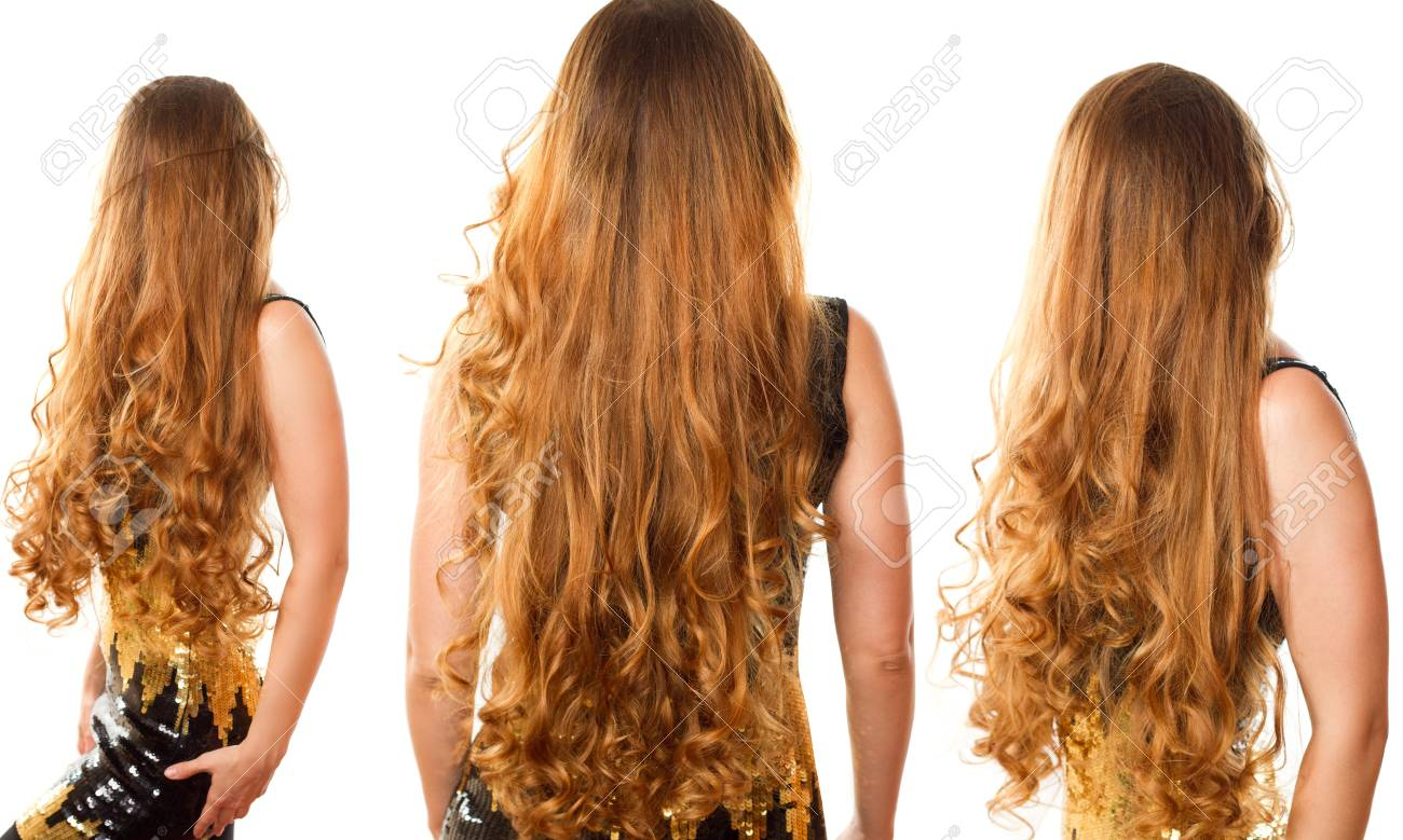 Collage Of Hairstyle From Long Curly Hair From The Back On Isolated