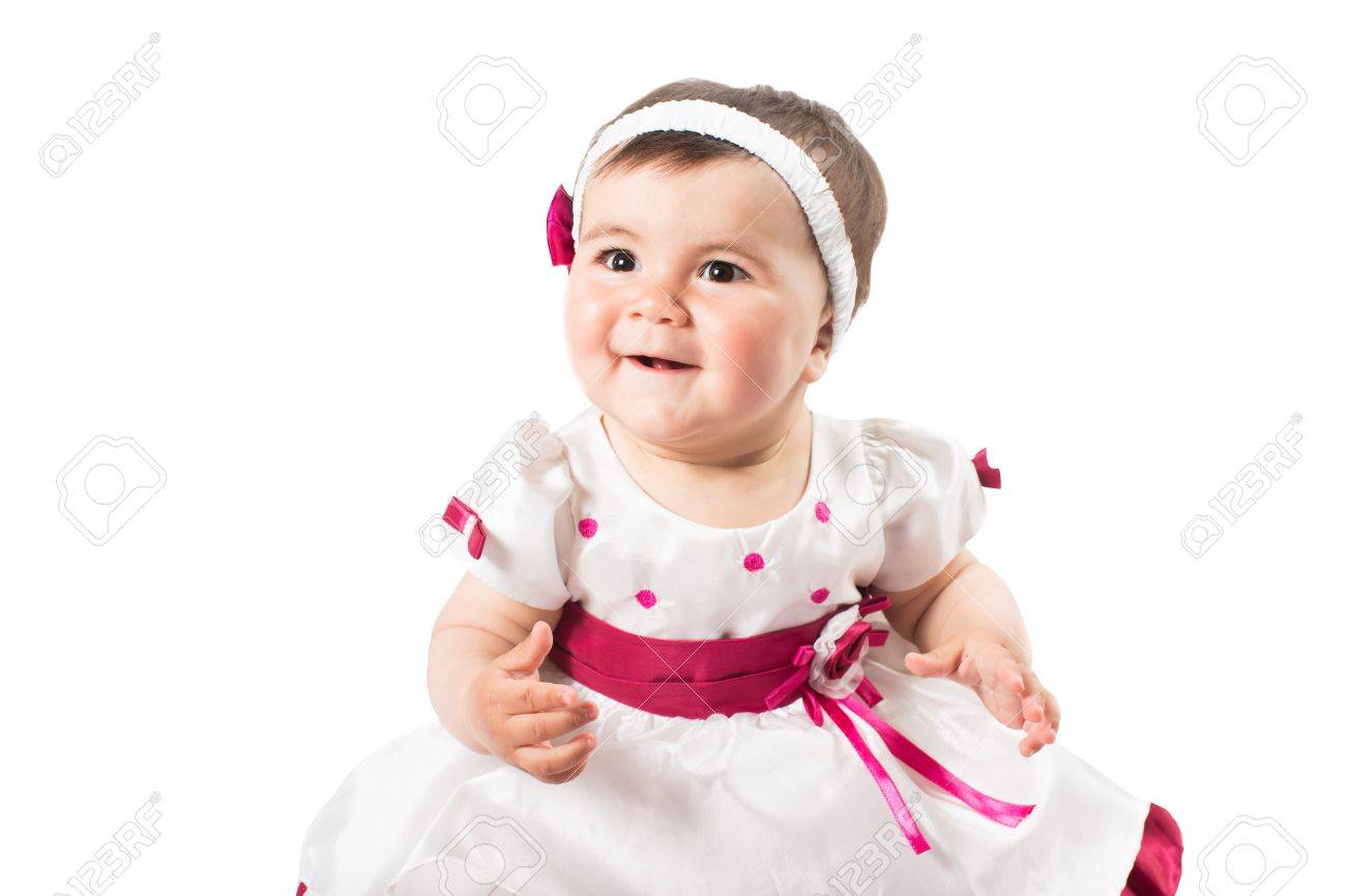 67d649647 Little cute baby-girl in pink dress isolated on white background Stock  Photo - 19749338