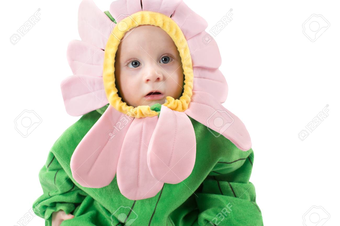 Adorable Baby Boy Dressed In Flower Costume On White Background