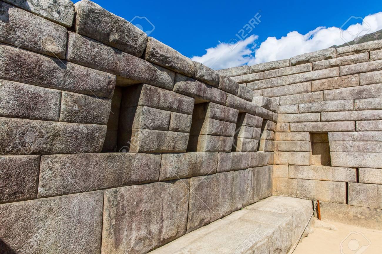 inca wall in machu picchu peru south america example of polygonal