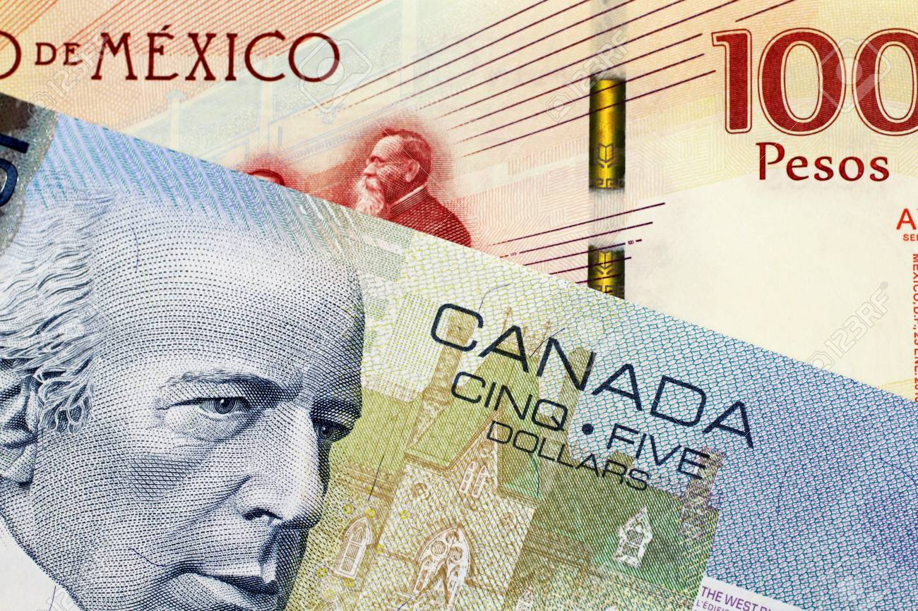 A close up image of a 5 Canadian dollar bill with a 100 Mexican