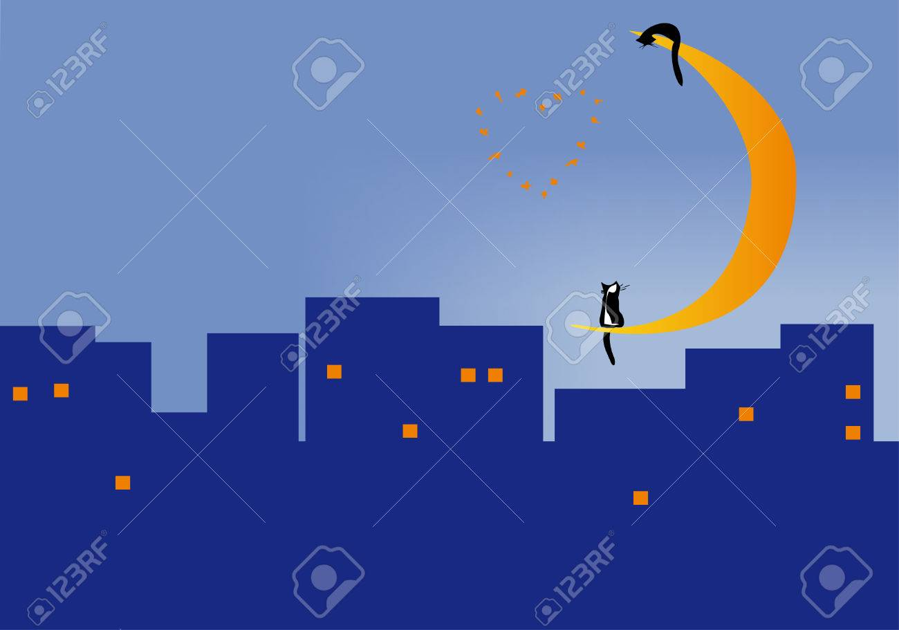 Two cats sitting on the moon over the roofs of the city of night Stock Vector - 4175888