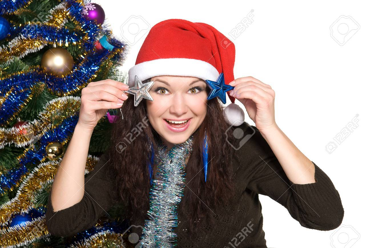 Christmas tree dress up images - Stock Photo Beautiful Girl With Curly Hair Dress Up A Christmas Tree Isolated On White Background