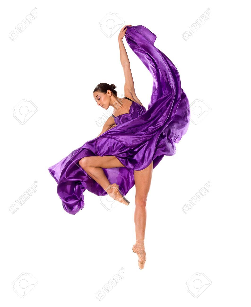 ballet dancer in flying satin dress isolated on white background Stock Photo - 14936037
