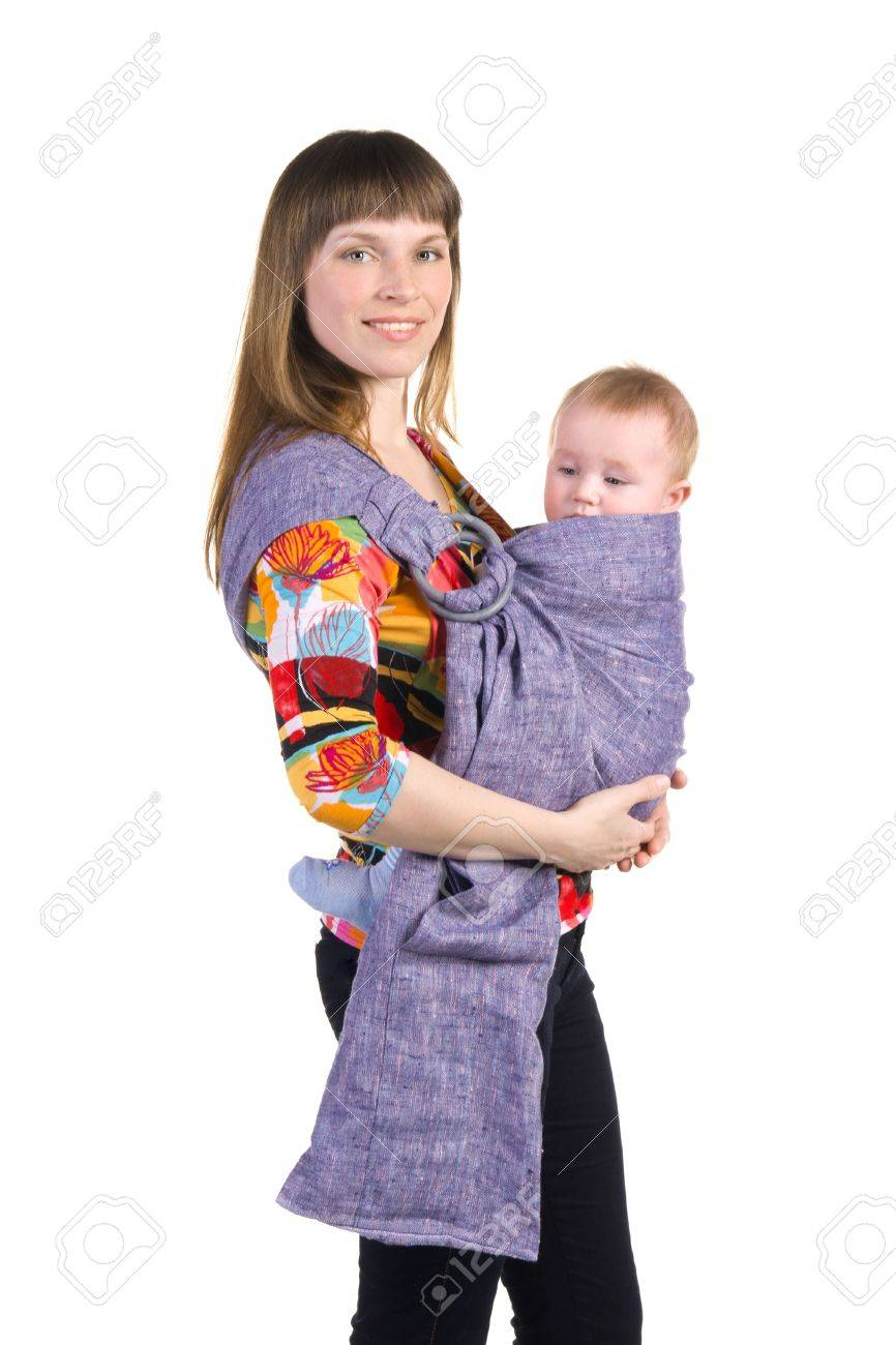 young mother with baby in sling isolated on white background Stock Photo - 17892258